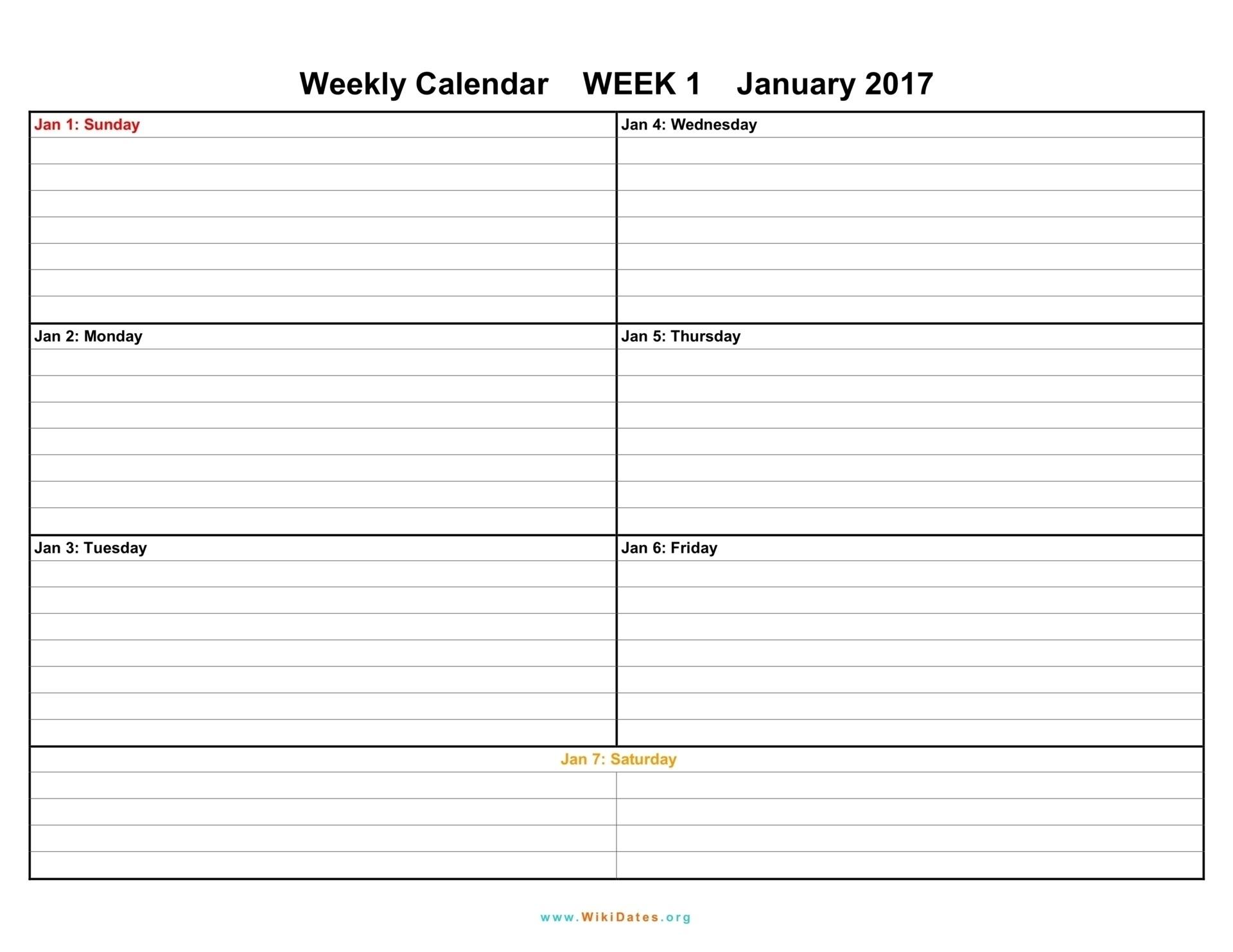 Printable Week Calendar Template Weekly Calendars Print Schedule inside 4 Week Calendar To Print