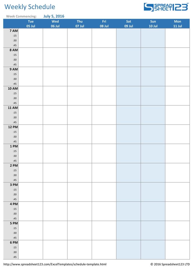 Printable Weekly And Biweekly Schedule Templates For Excel with Blank Weekly Schedule Template Printable
