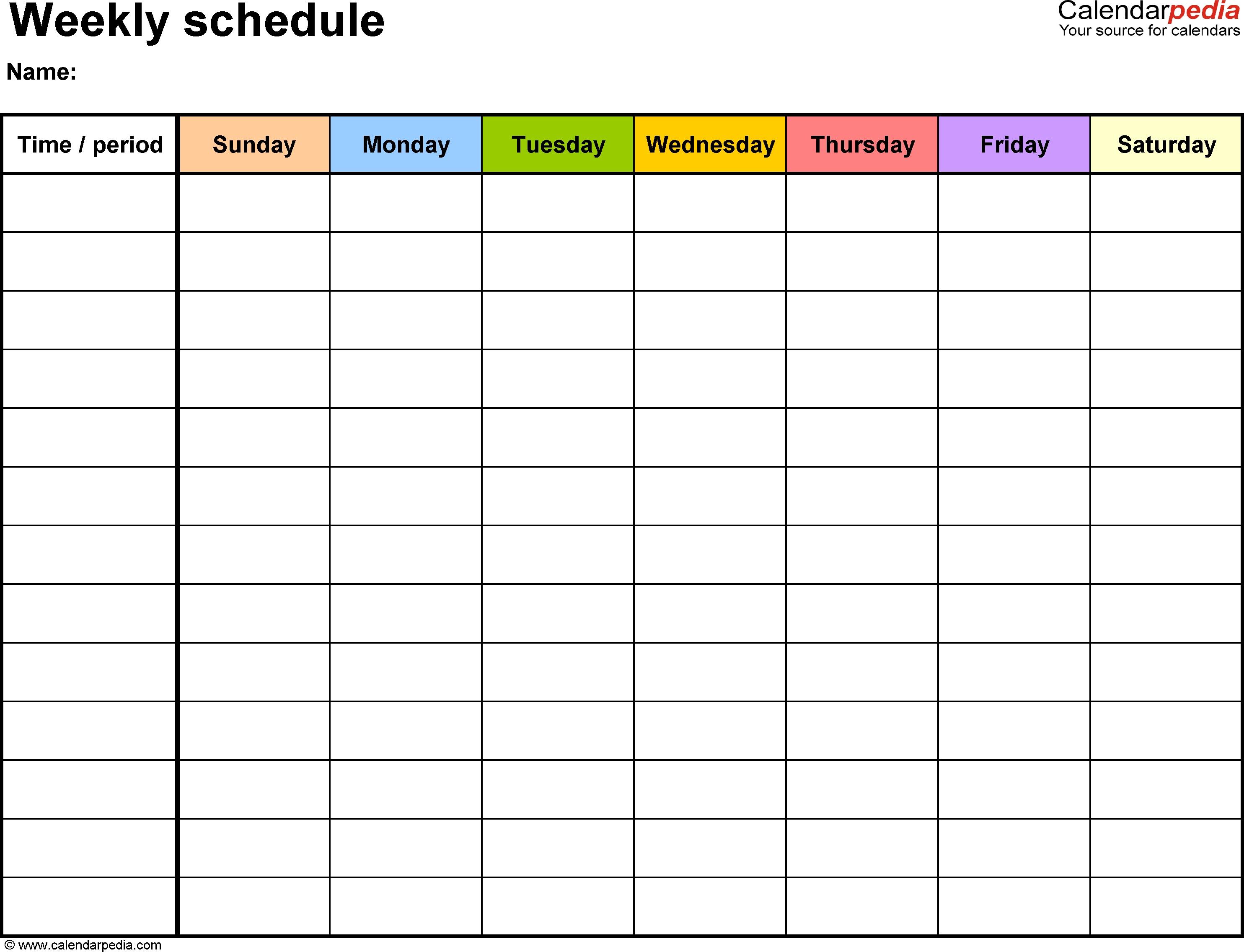 Printable Weekly Calendar Blank Week Number Template With Time Slots inside Week Calendar Blank With Time Slots