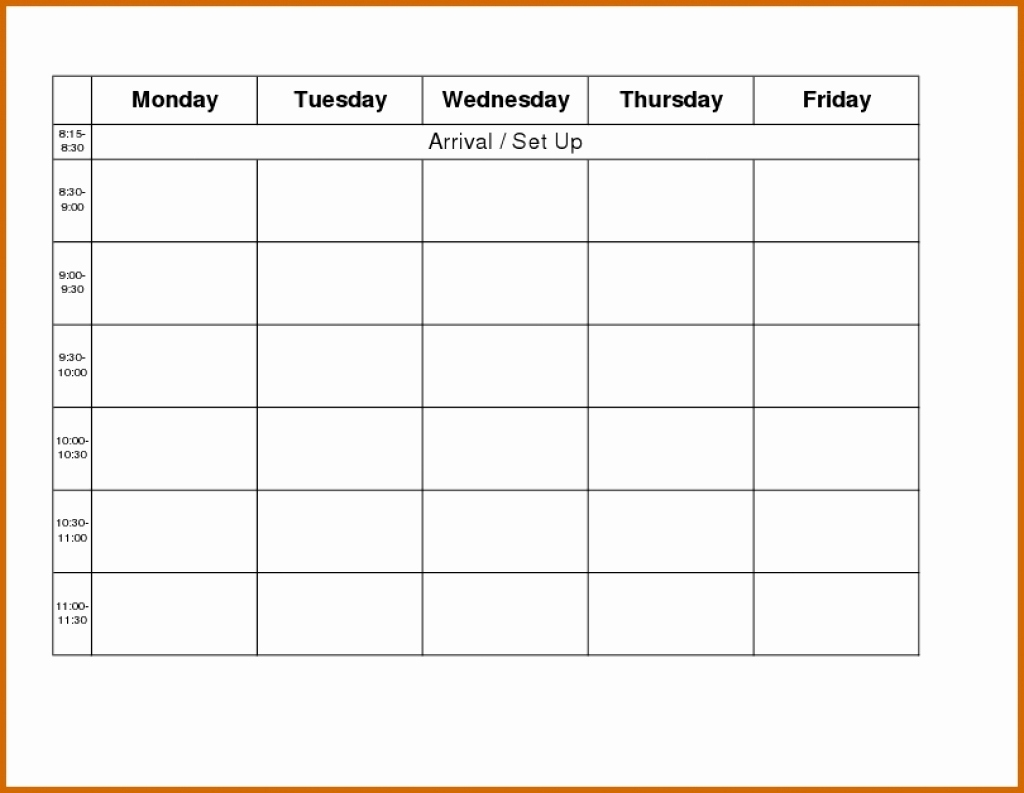 Printable Weekly Calendar Monday Through Friday Monday Thru Friday regarding Week Template Monday Through Friday