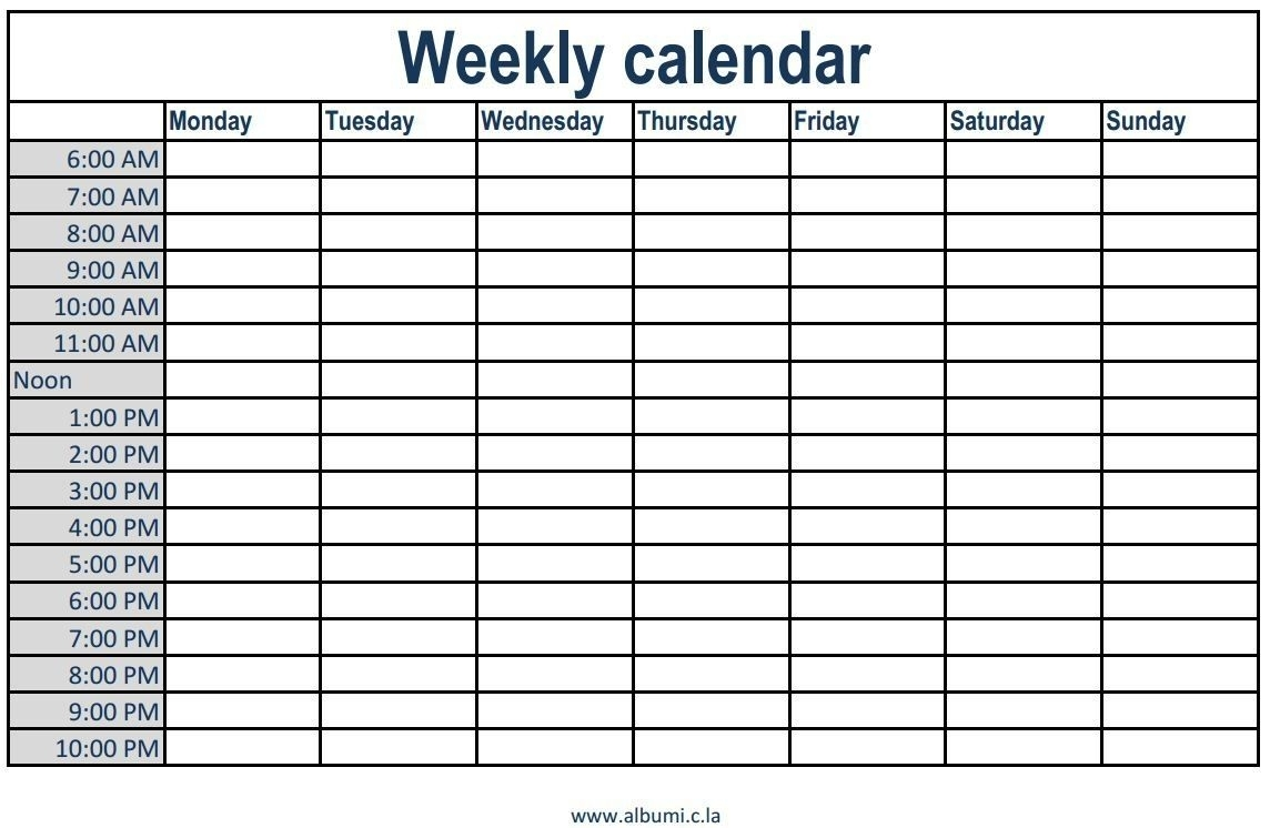 Printable Weekly Calendar With Time Slots Printable Weekly Calendar in Blank Weekly Calender With Time