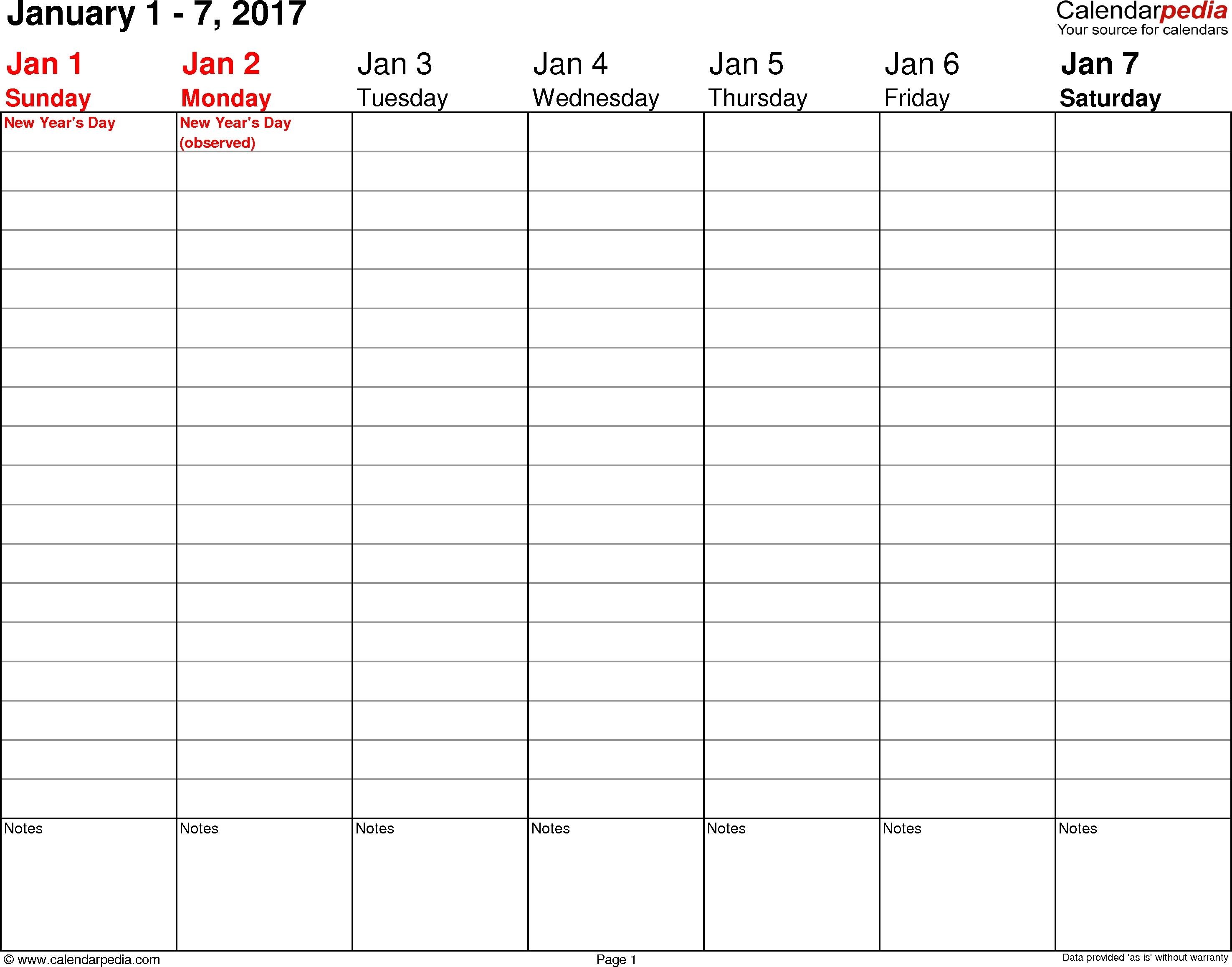 Printable Weekly Planner 2017 | Room Surf with Free Printable Weekly Planner Calendar Template