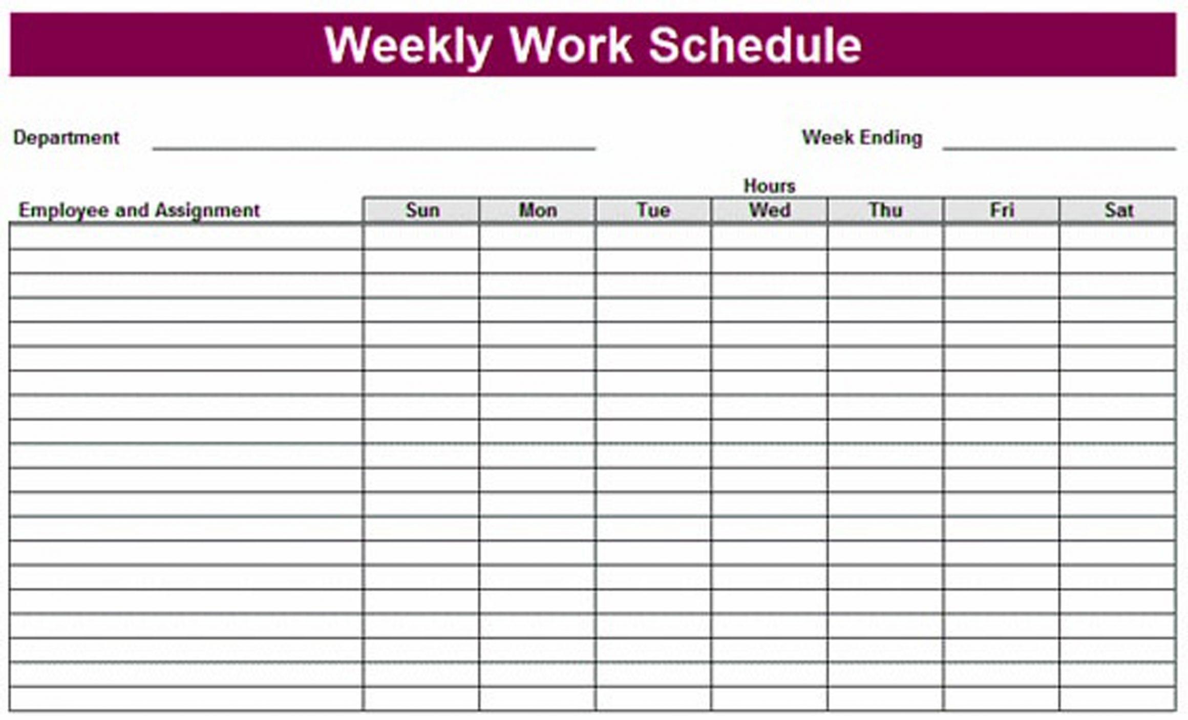 Printable Weekly Schedule Template & Excel Planner Template   Task with Printable Week By Week Schedule