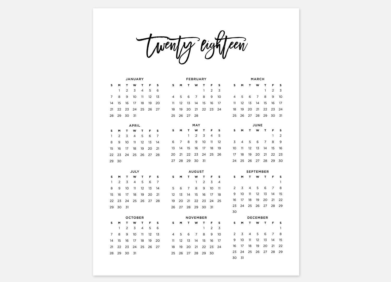 Printable Year At A Glance Calendar 2018 | Printable Calendar in Blank Year At A Glance Calendar Template
