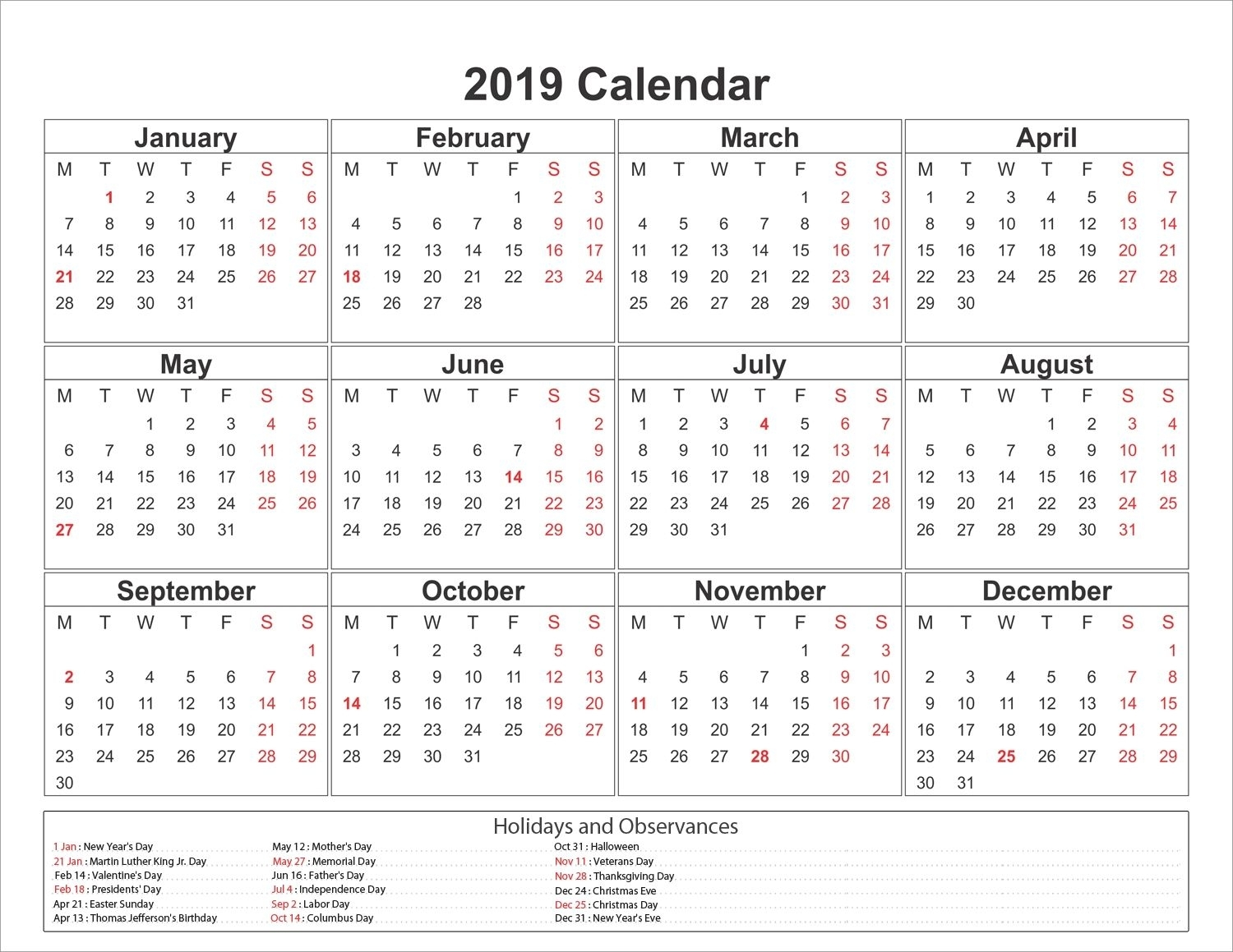 Printable Yearly Printable 2019 Calendar Pdf Template for Pdf Blank Calendar Without Months