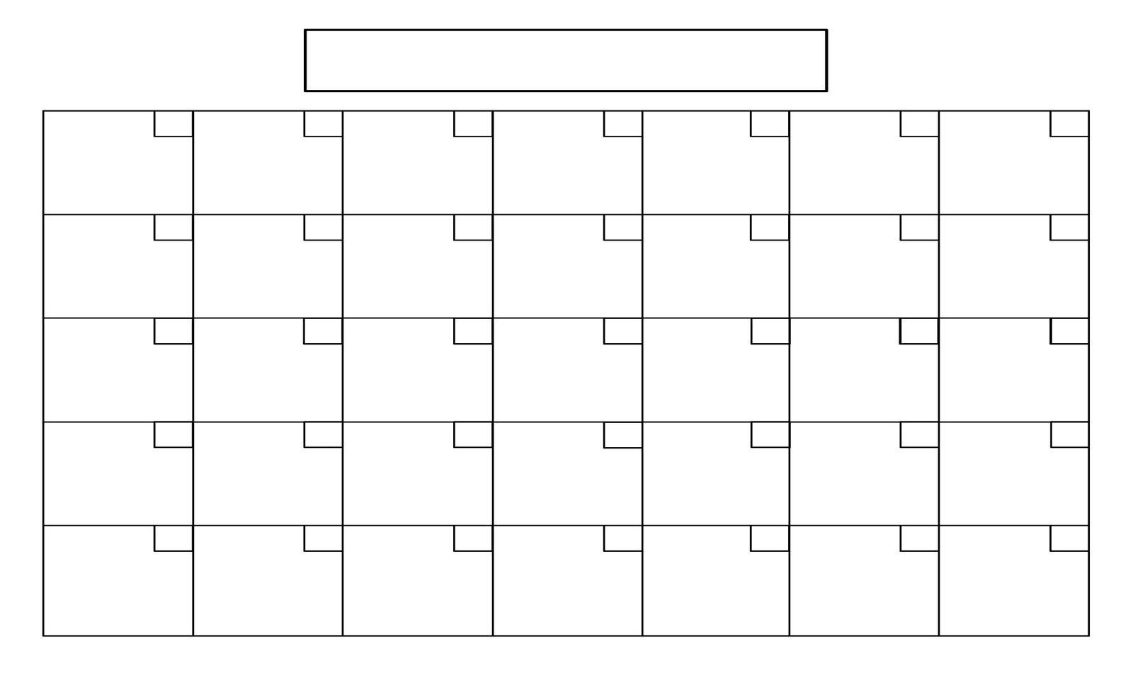Printable+Full+Page+Blank+Calendar+Template | Boyscout | Blank for 1 Month Calendar Printable Blank