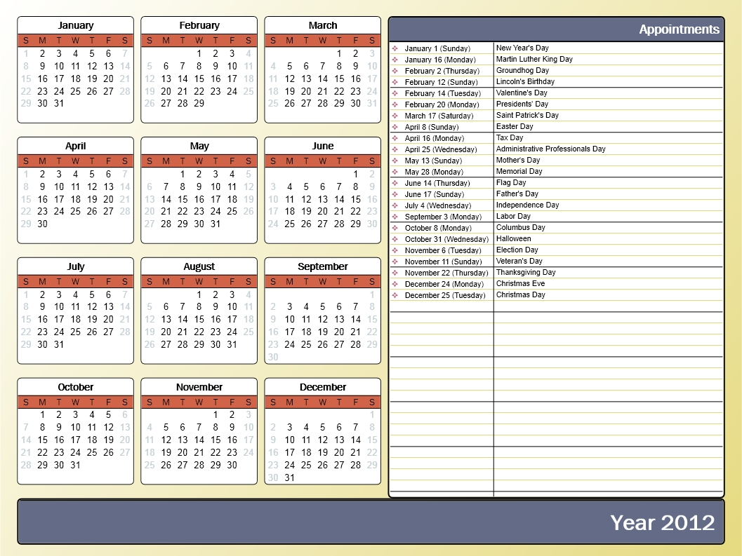Printing A Yearly Calendar With Holidays And Birthdays - Howto-Outlook inside Free 12 Month Birthday Calendar Template