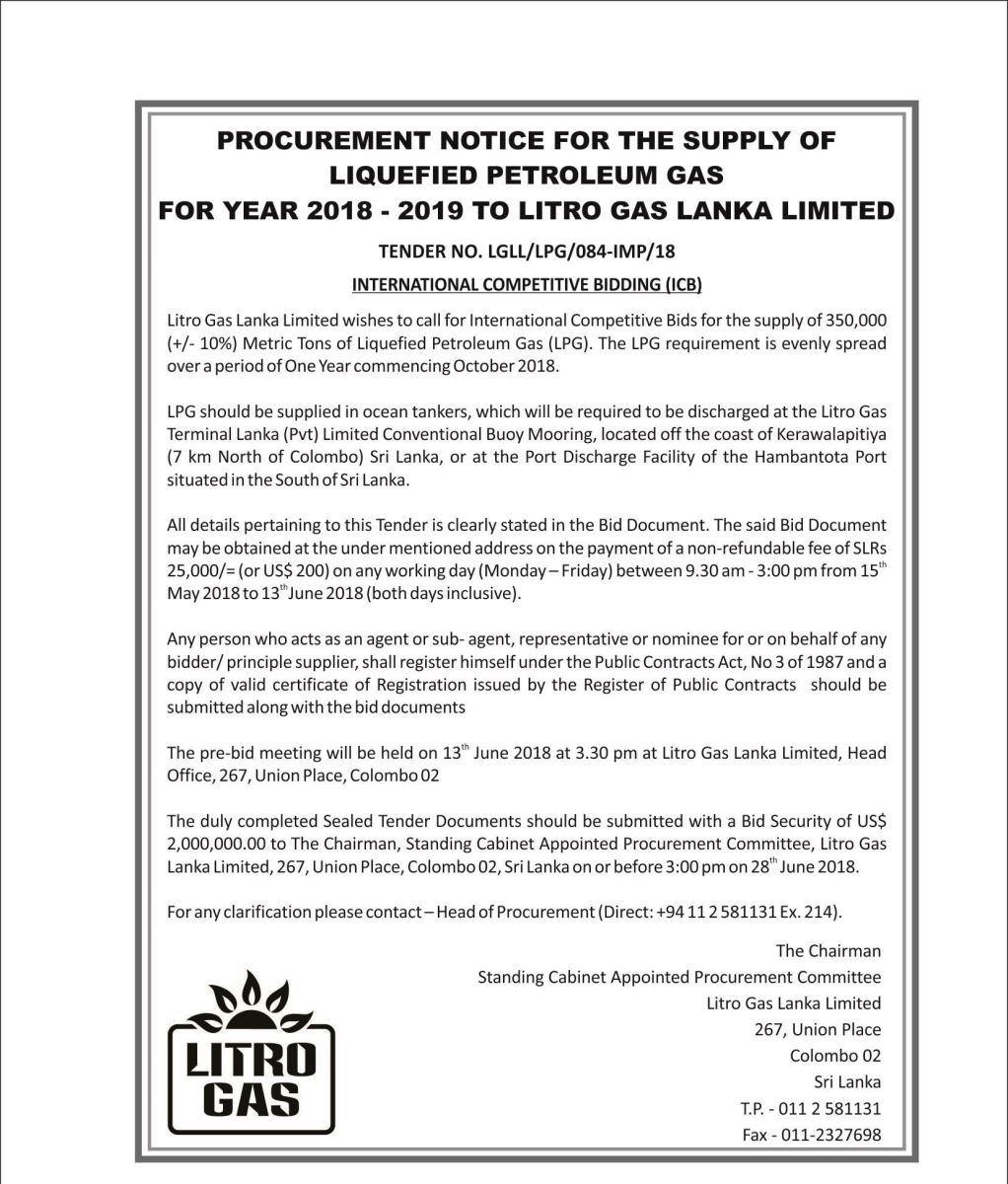 Procurement Notice Of Litro Gas Lanka Limited || The Embassy Of Sri inside 18 August 1987 In Sri Lanka