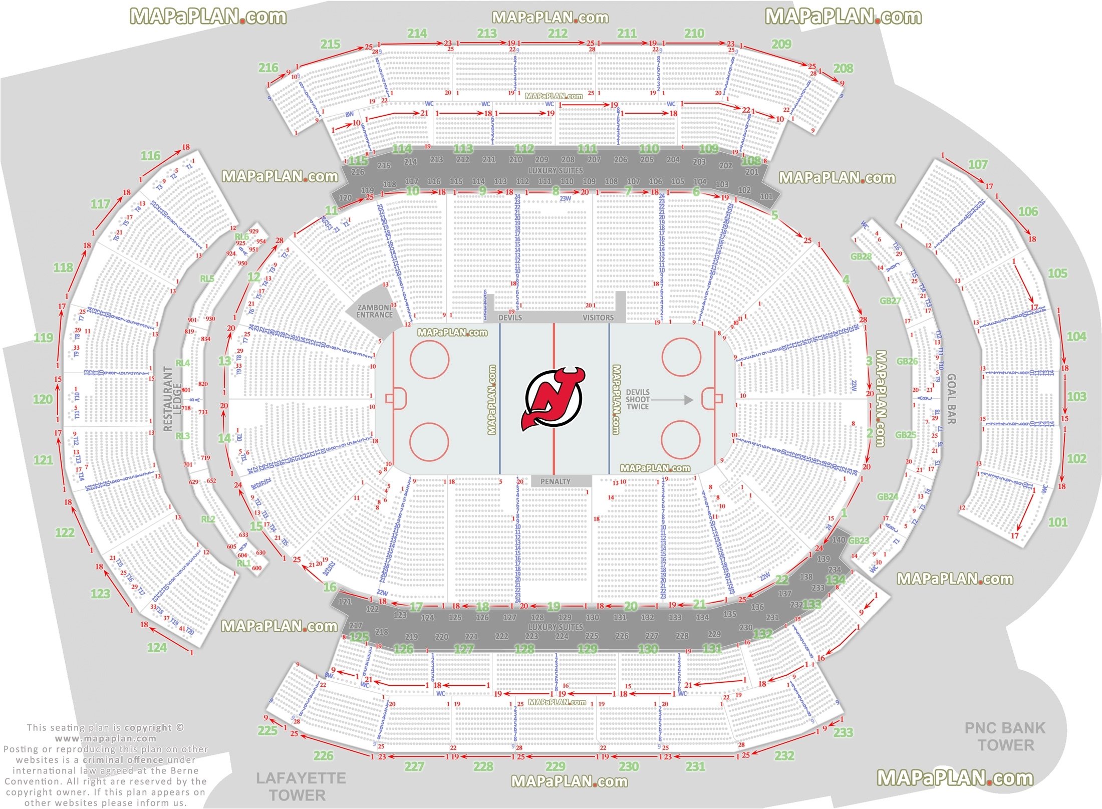 Prudential Center Newark Arena Seat And Row Numbers Detailed Seating throughout Verizon Center Seating Chart Pdf