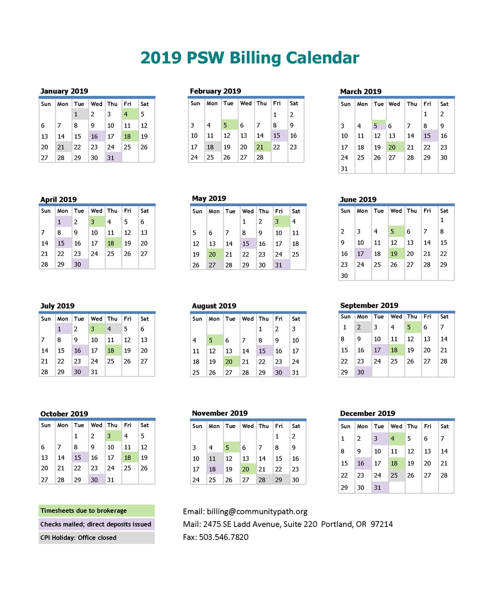 Psw Billing — Community Pathways, Inc. for Calendar With Bill Due Dates