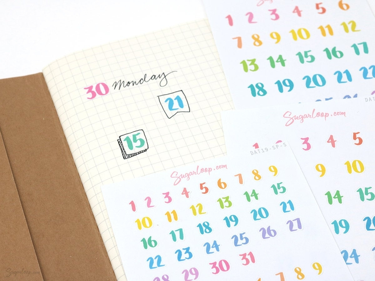 Rainbow Date Numbers Planner Stickers Days Of The Month | Etsy pertaining to Numbers Days Of The Month