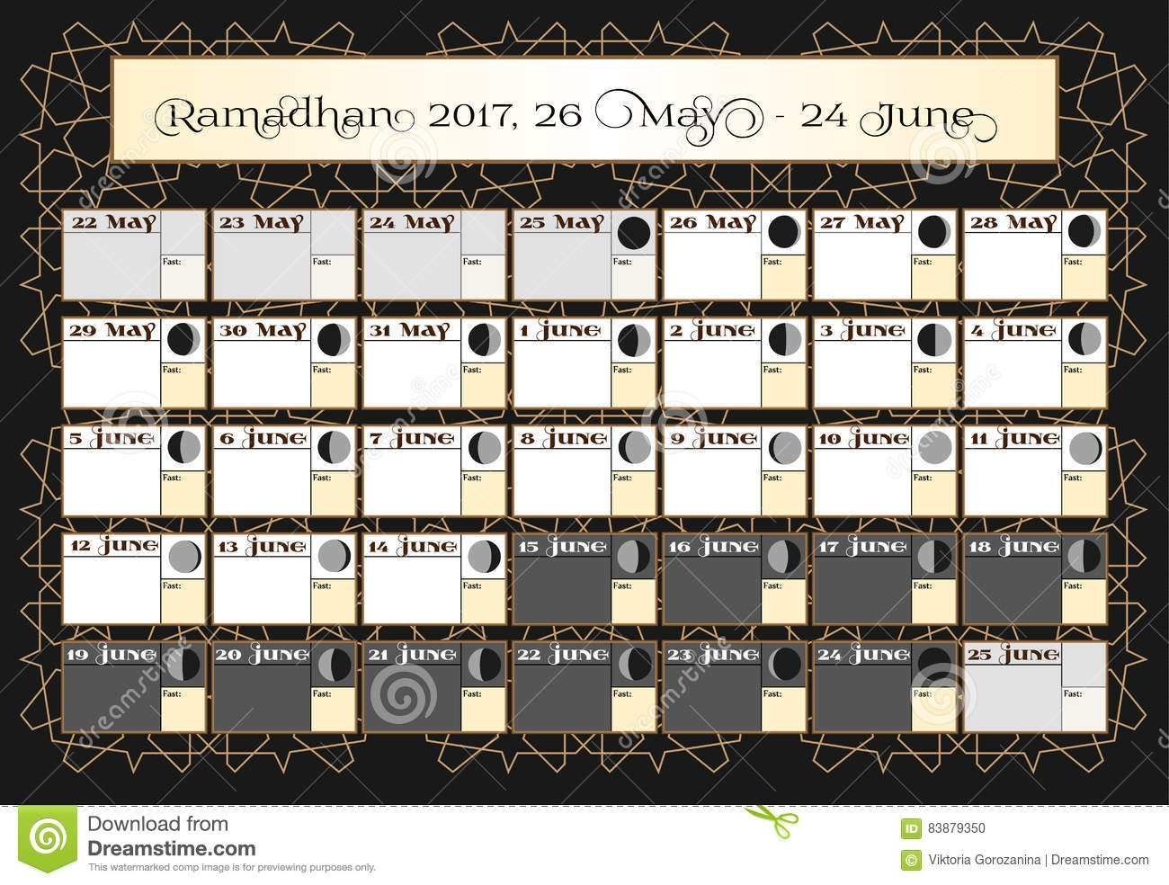 Ramadan Calendar 2017, 26Th May. Check Date Choice. Includes for Islamic Calander Template Lunar Cycle