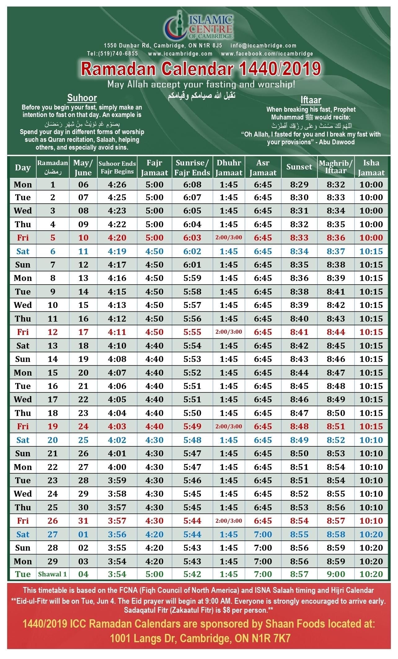 Ramadan Calendar 2019 | Islamic Centre Of Cambridge (Icc) with Urdu Calendar With Time Table
