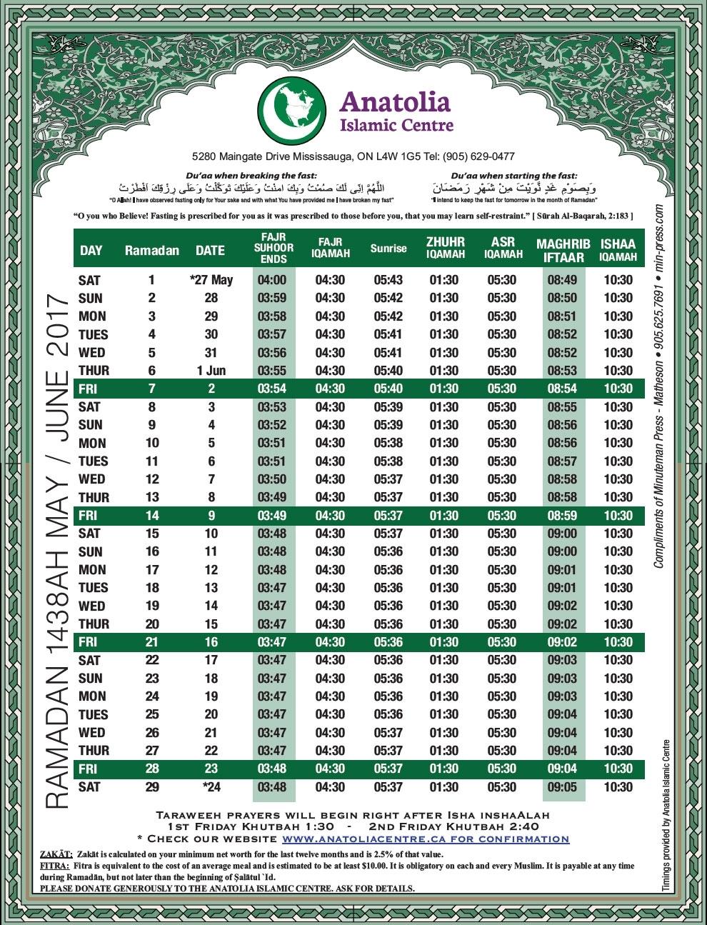 Ramadan Calendar - Anatolia Islamic Center regarding Urdu Calendar With Time Table