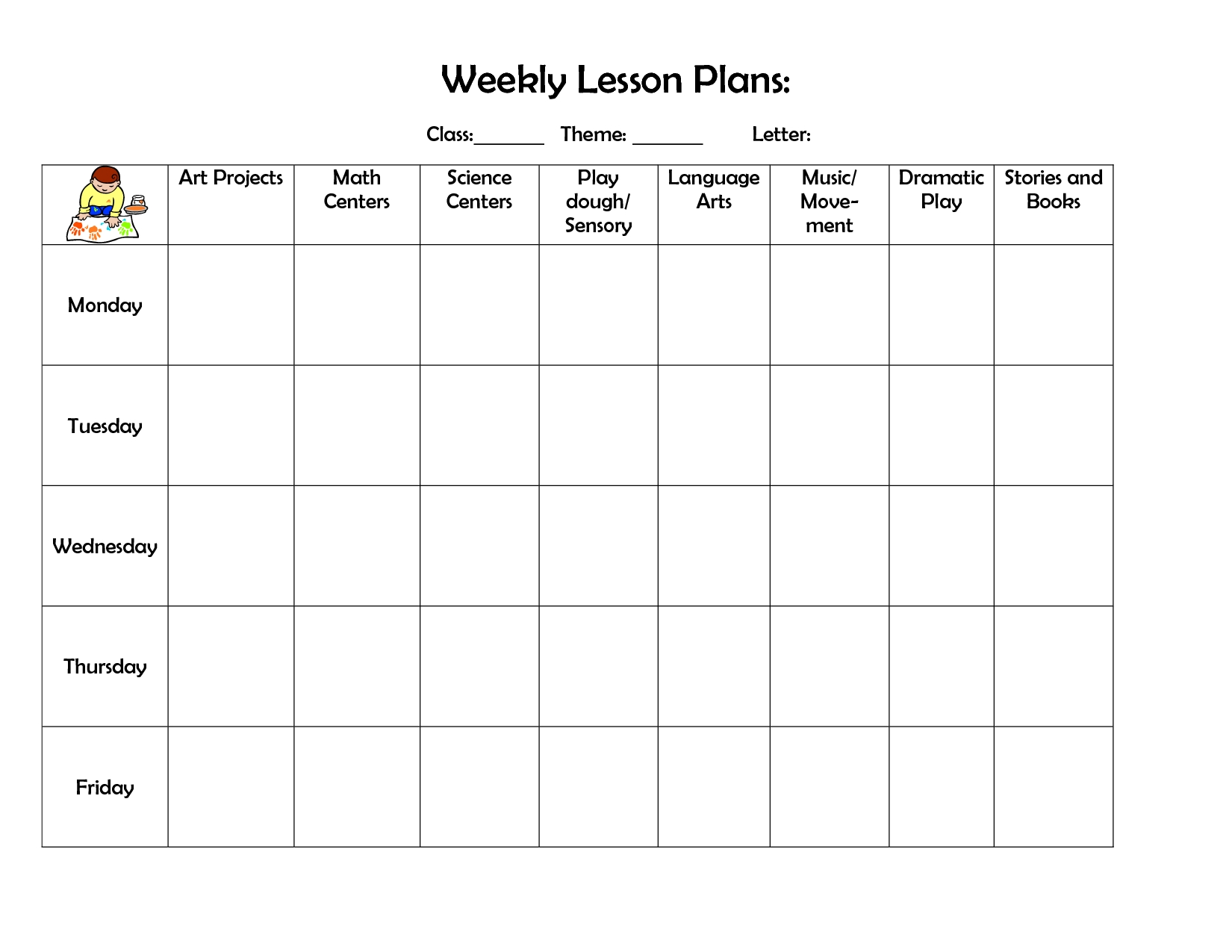 Rare Prek Lesson Plan Template Ideas Child Care Examples Toddler with Monthly Planner Template For Children