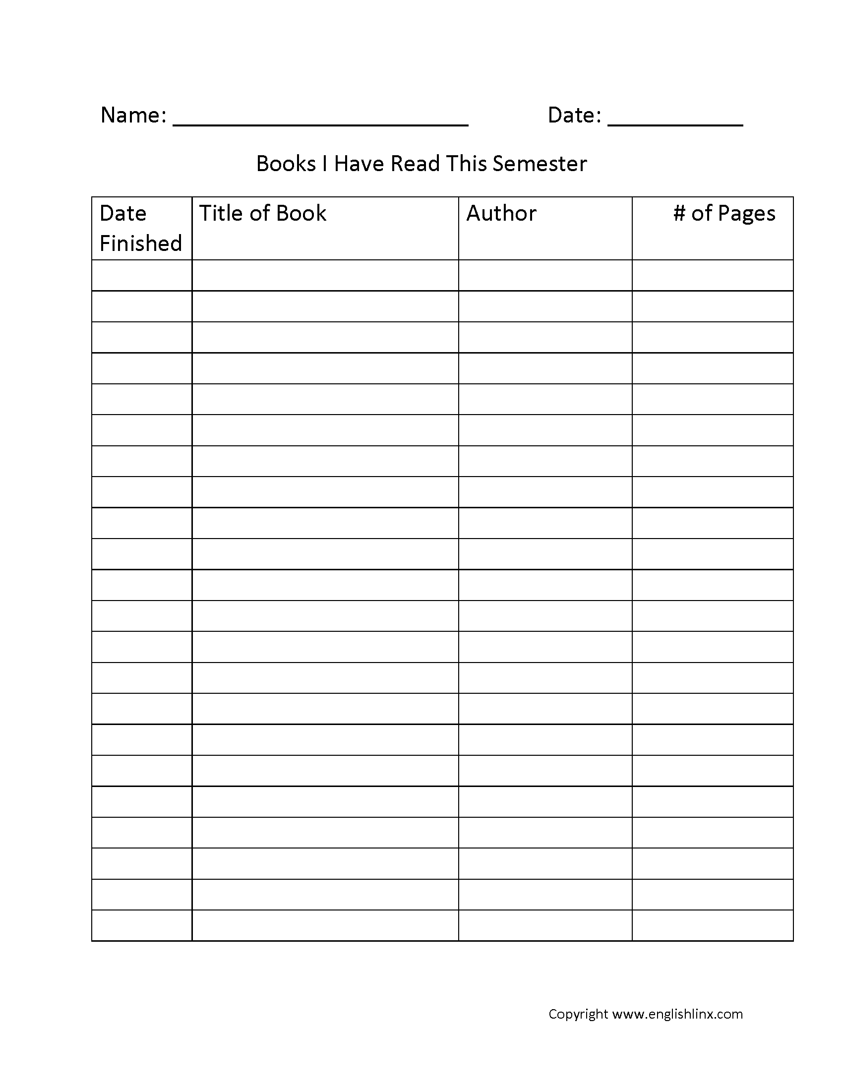 Reading Worksheets | Reading Logs with 4Th Grade Reading Log Printable