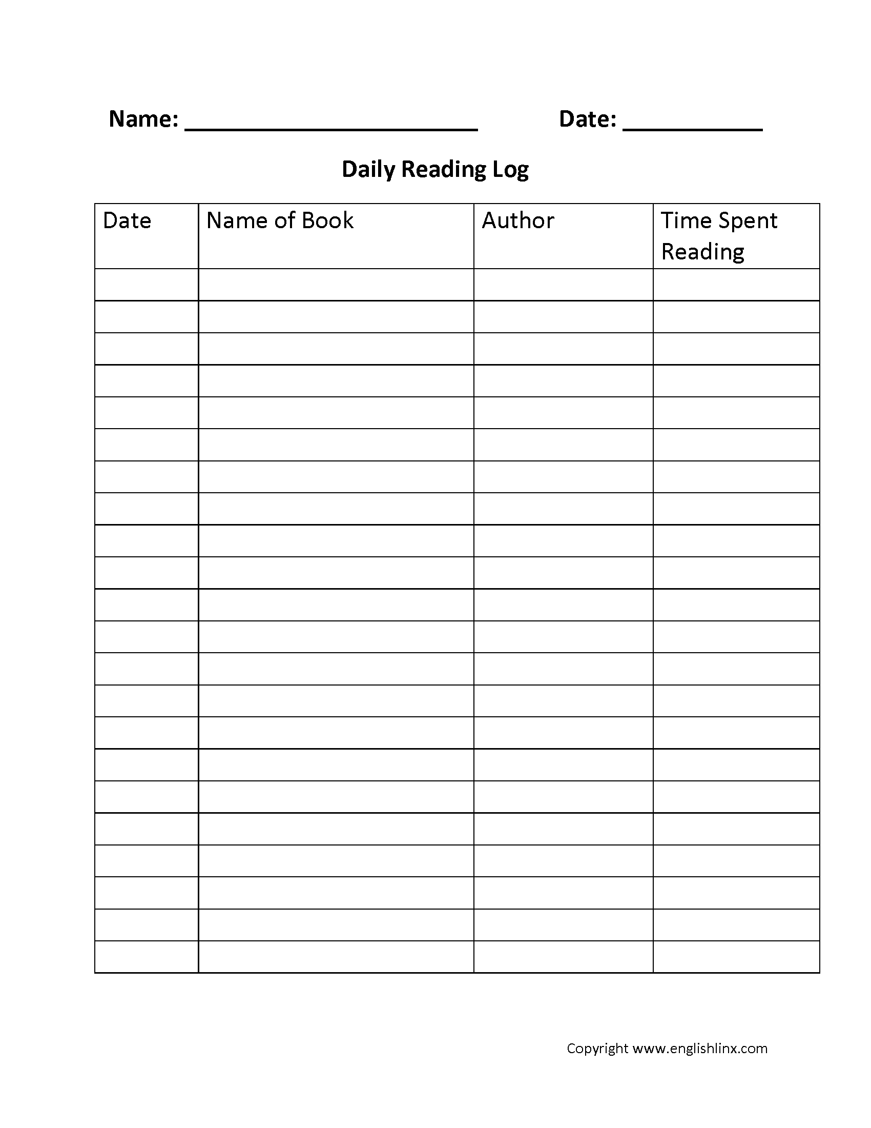 Reading Worksheets | Reading Logs within 4Th Grade Reading Log Printable