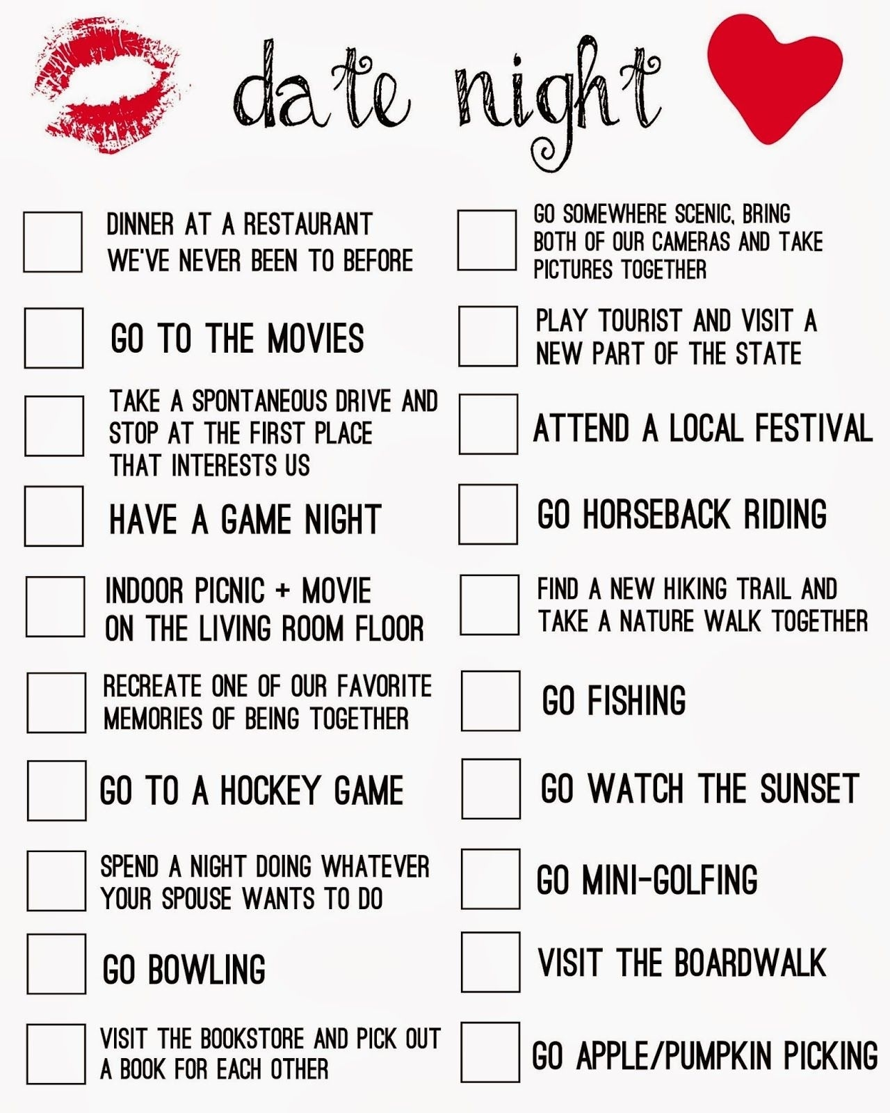 Relationship Goals Checklist Great List Of Questions To Ask Your within Planning Date Night Checklist Template