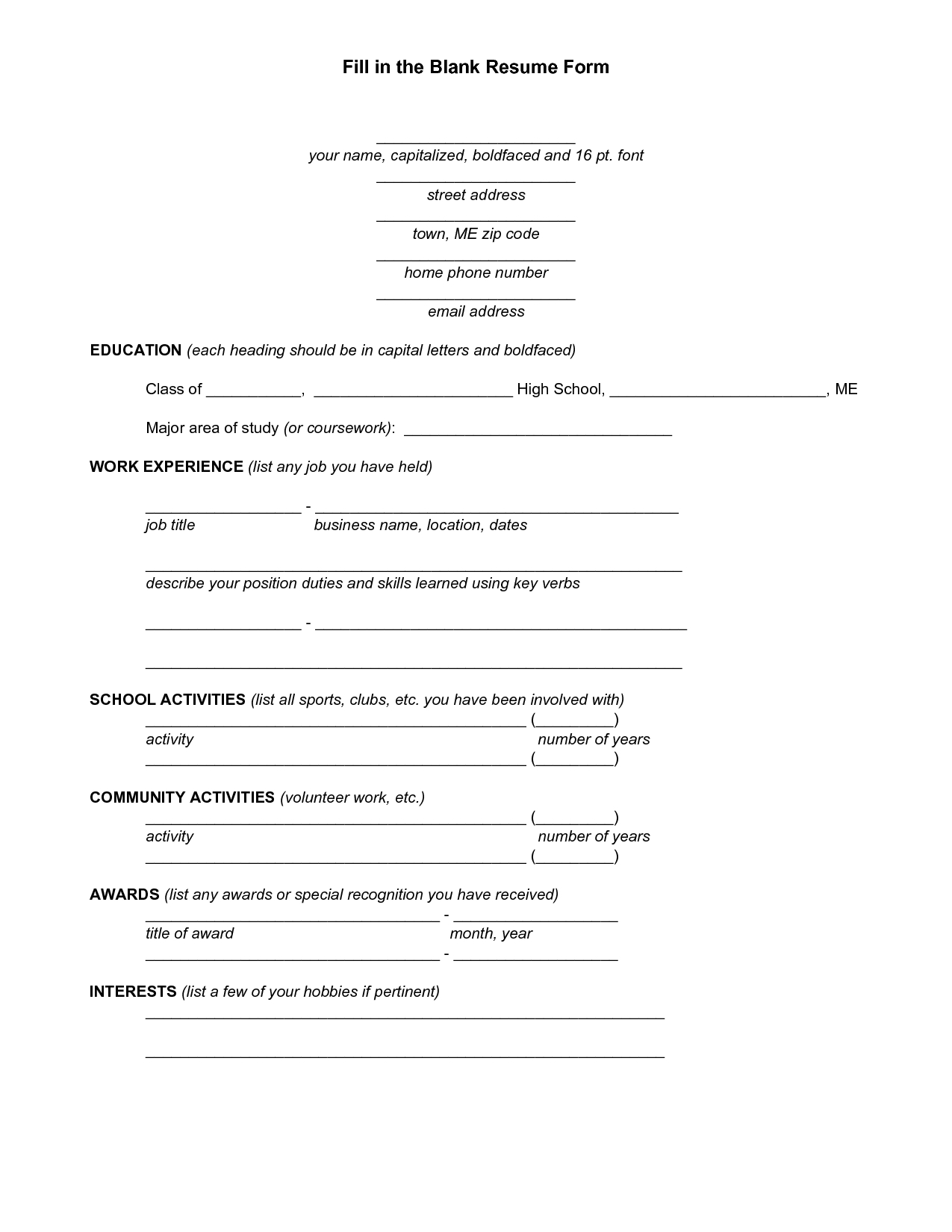 Resume Blank Forms To Fill Out | Fill In The Blank Resume Form - Pdf throughout Fill In The Blank Template