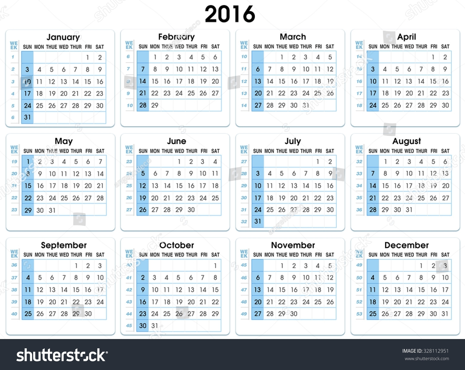 Royalty Free Stock Illustration Of Calendar 2016 12 Months with Calendar With The Months Number