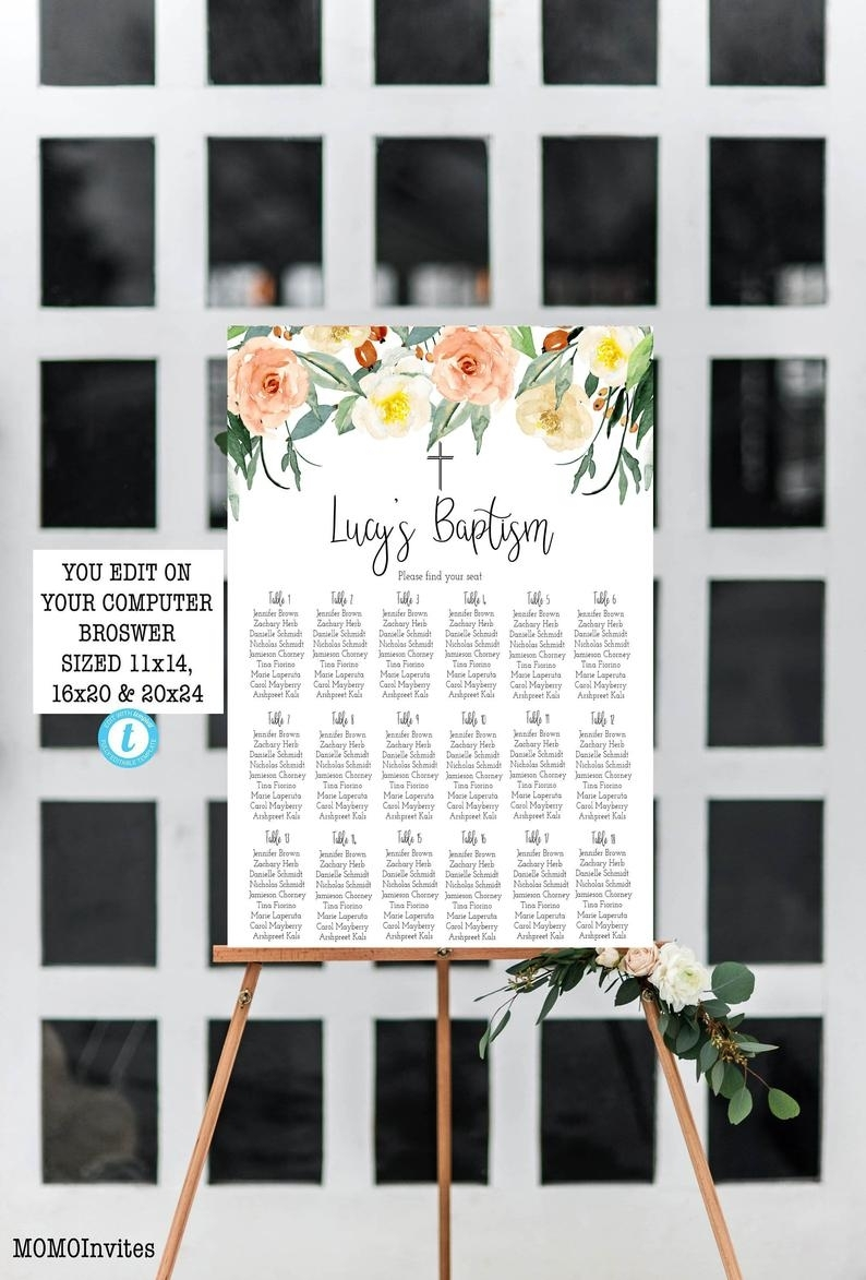 Rustic Baptism Religious Seating Chart Table Chart Template   Etsy intended for Printable Church Seating Chart Template