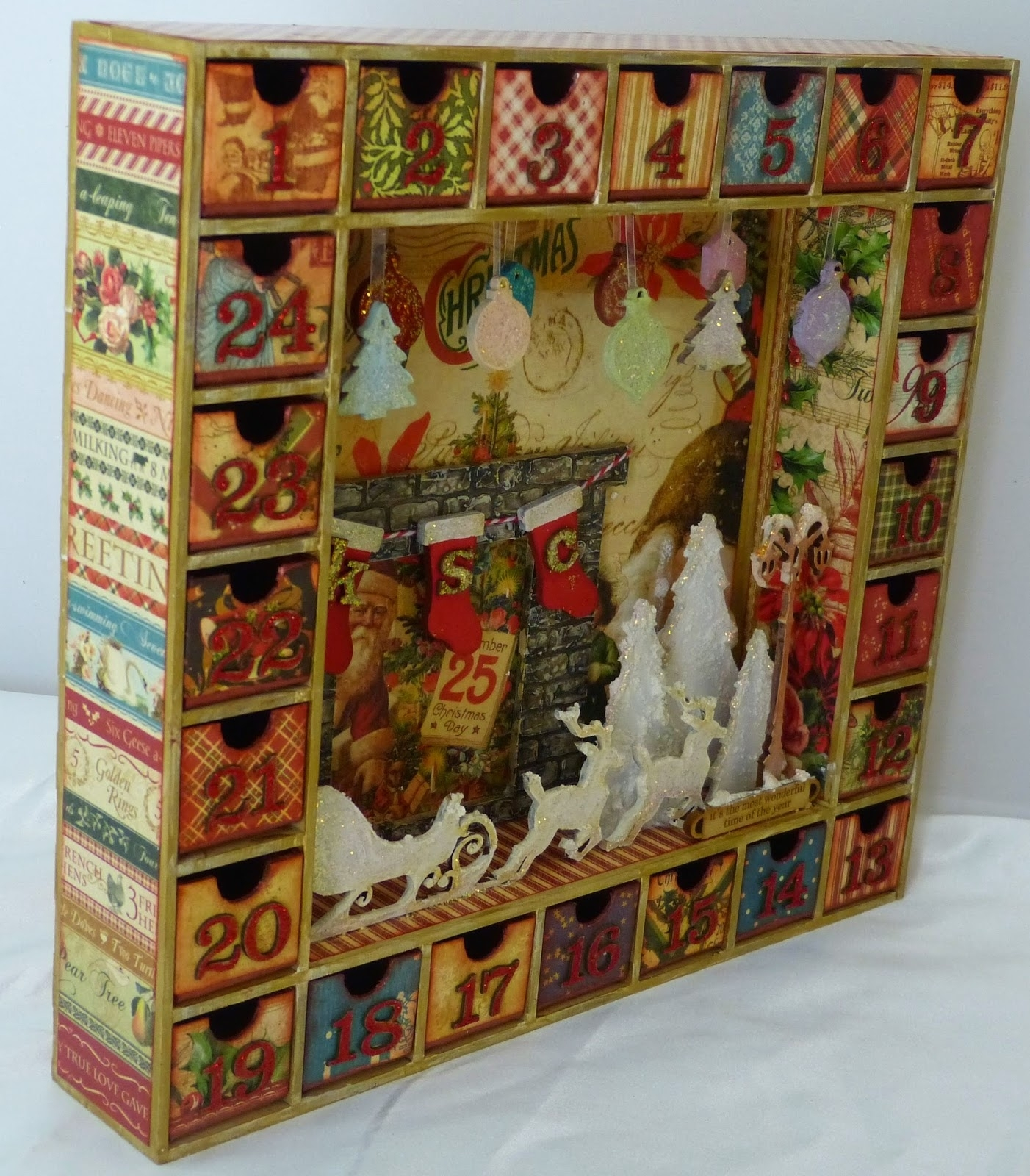 Sacrafters: Altered Advent Calendar Shadow Box inside Wooden Shadow Box Advent Calendar