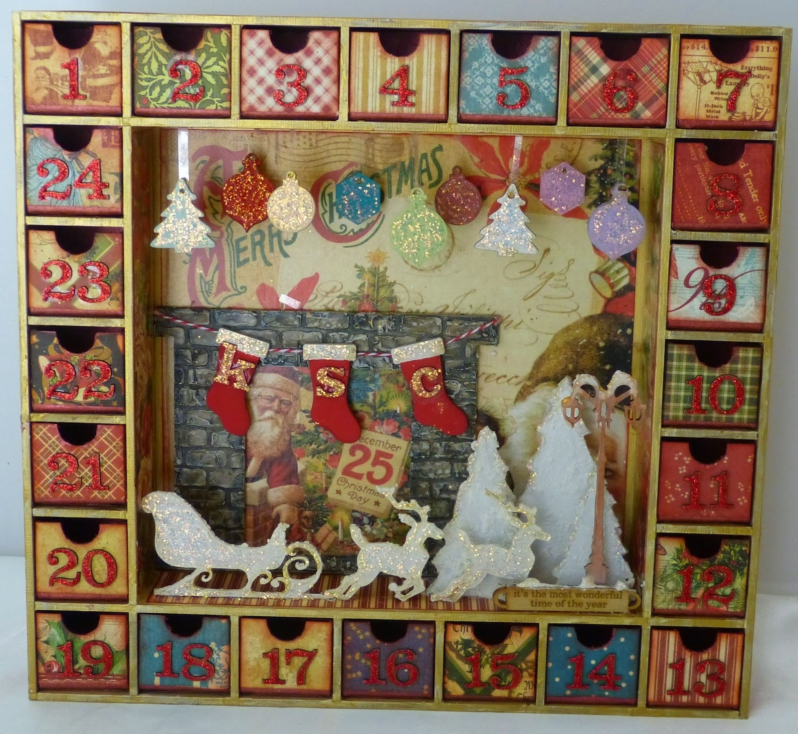 Sacrafters: Altered Advent Calendar Shadow Box throughout Wooden Shadow Box Advent Calendar