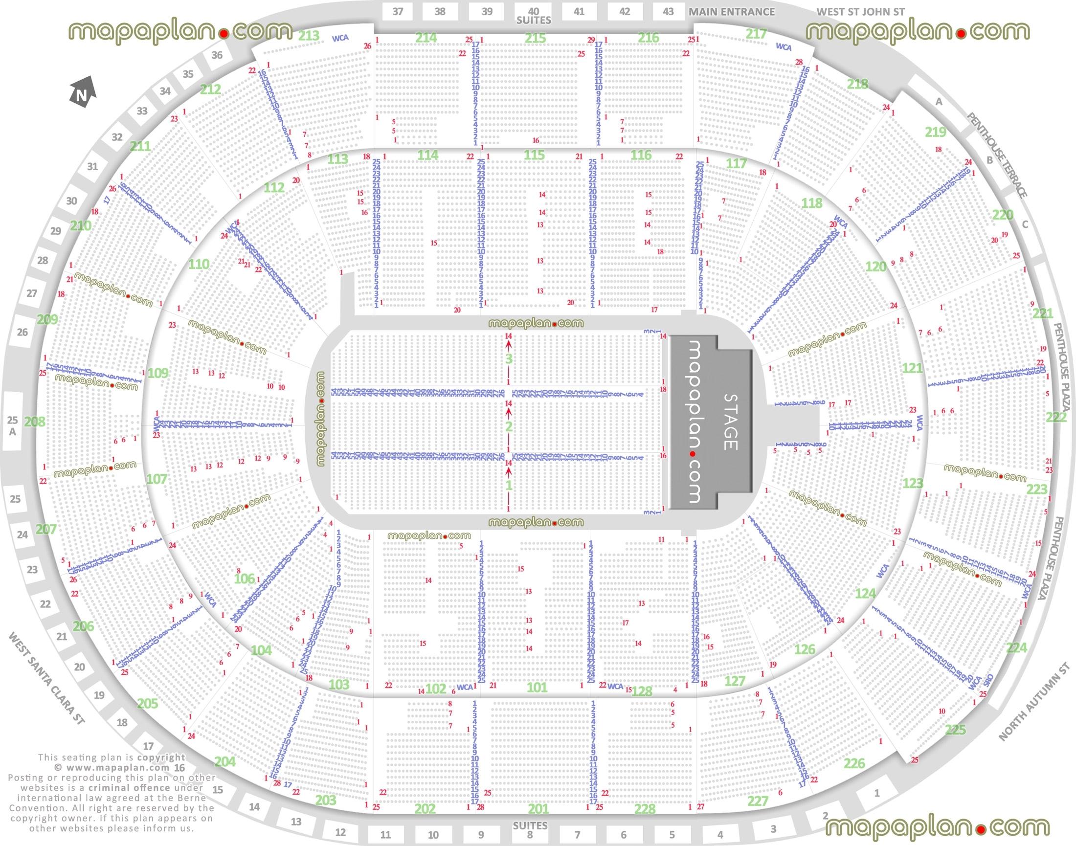 Sap Center Seat & Row Numbers Detailed Seating Chart, San Jose inside Verizon Center Seating Chart Pdf
