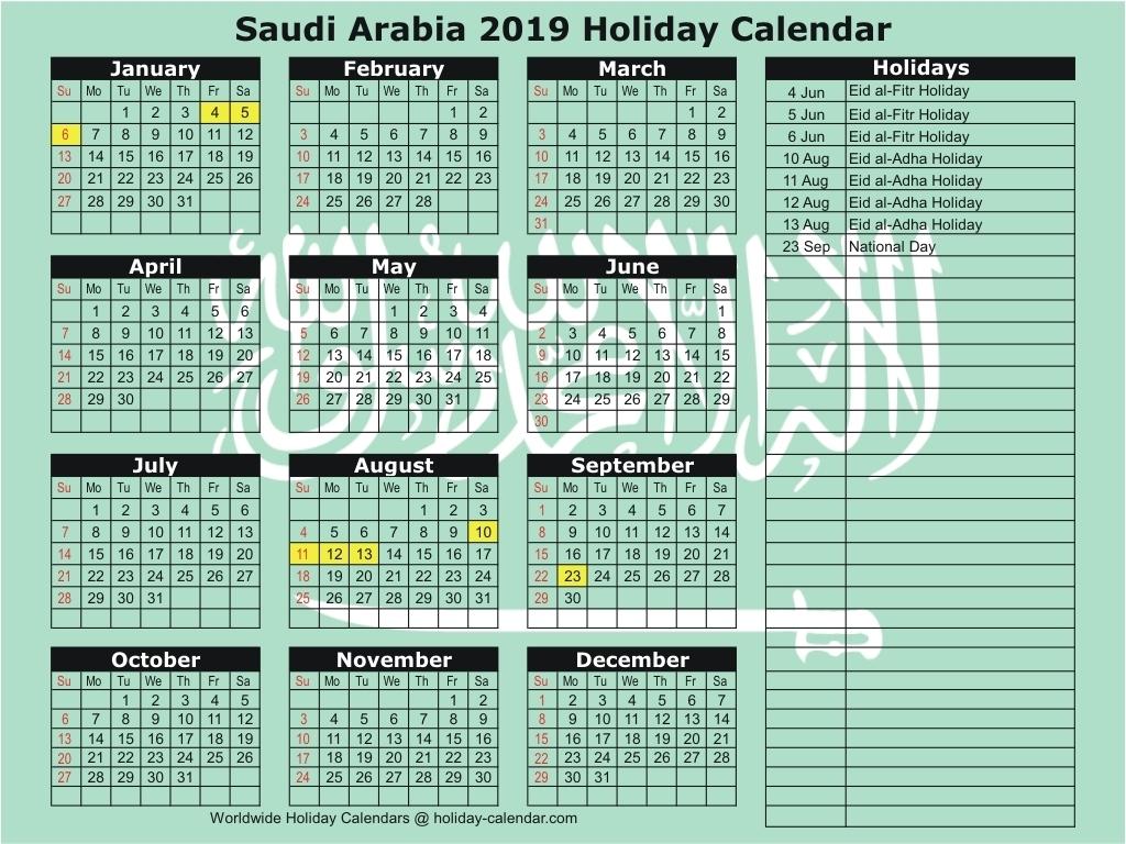 Saudi Arabia 2019 / 2020 Holiday Calendar inside Islamic Calender In Saudi Arabia