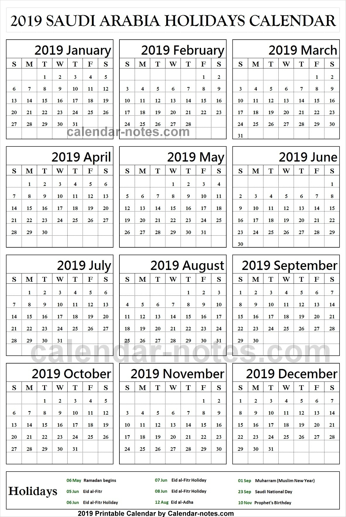 Saudi Arabia Holiday 2019 Calendar Archives - Calendar With Notes inside Calendar Of Ramadan In Saudi Arabia