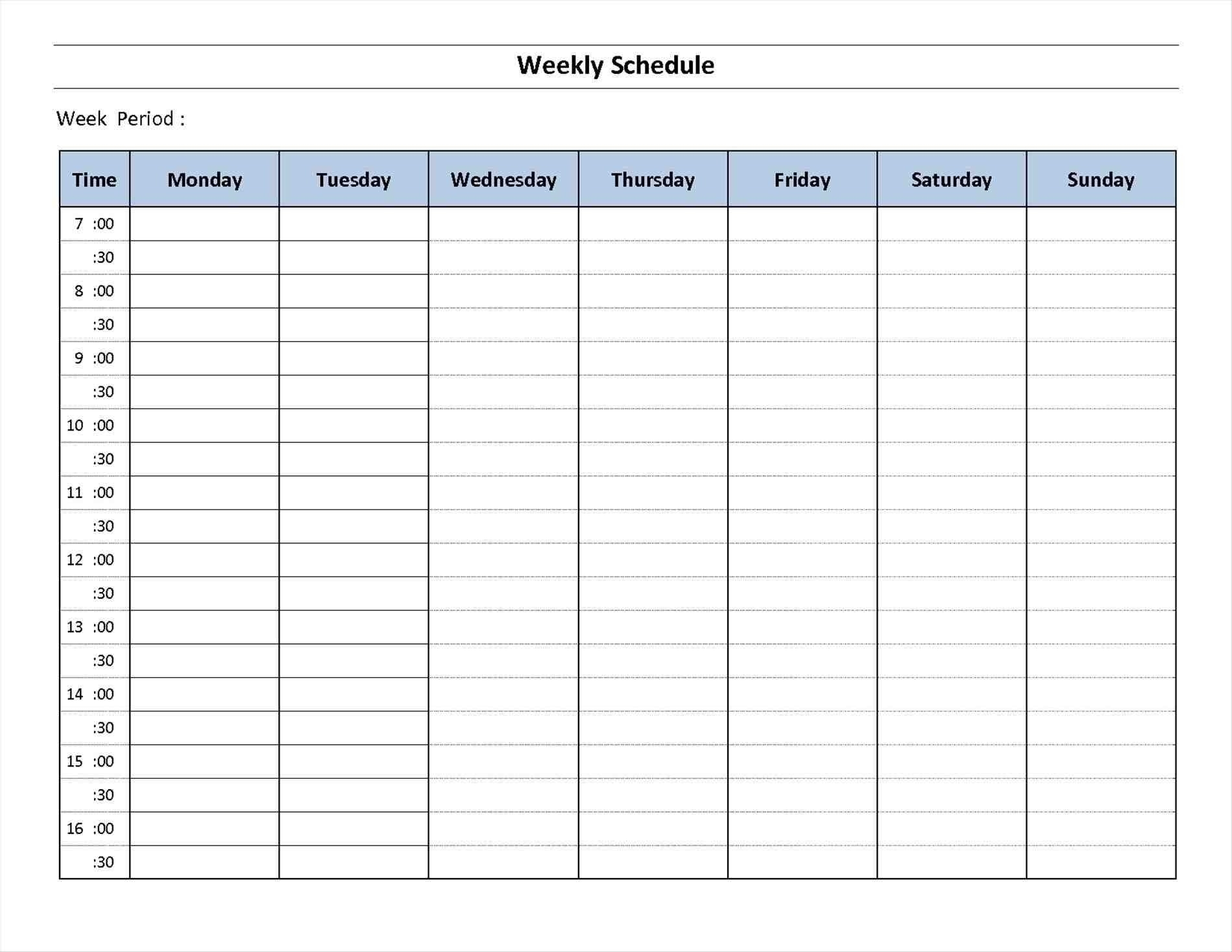 Schedule Template Ay Planner Week Calendar Printable Excel Word Free in 7 Day Week Free Schedule Template