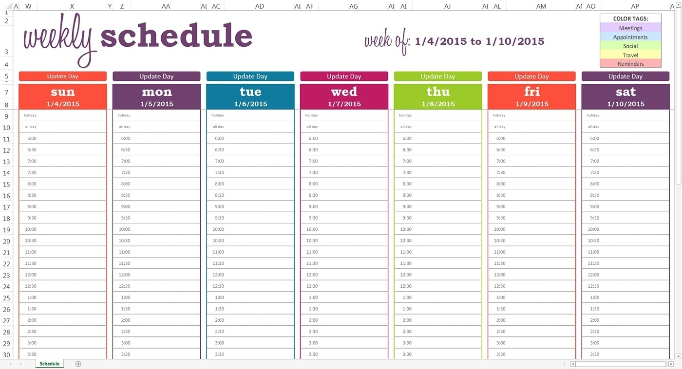 Schedule Template Free Ble Weekly Calendar With Times Daily Time And throughout Day Calendar With Time Slots Printable