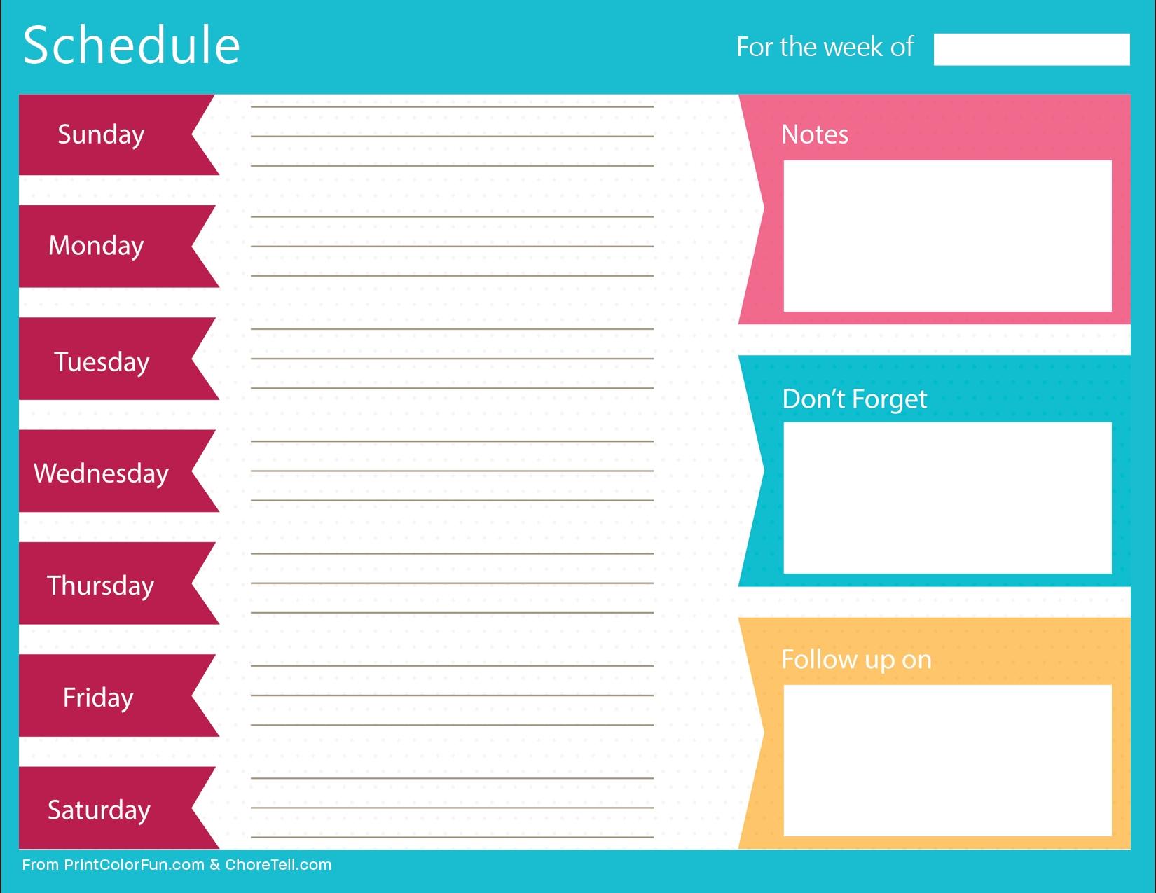 Schedule Template Free Planner Weekly Timetable Desktop | Smorad with regard to Free Printable Weekly Schedule Planner