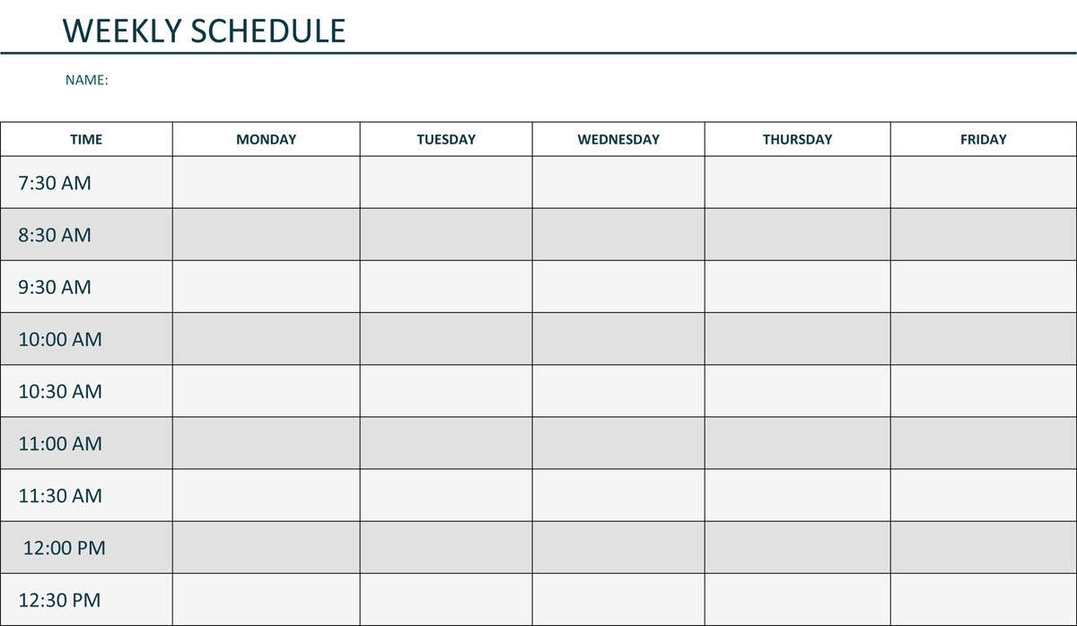 Schedule Template Monday Through Day Weekly Calendar Hourly Planner with Monday - Friday Planner Template