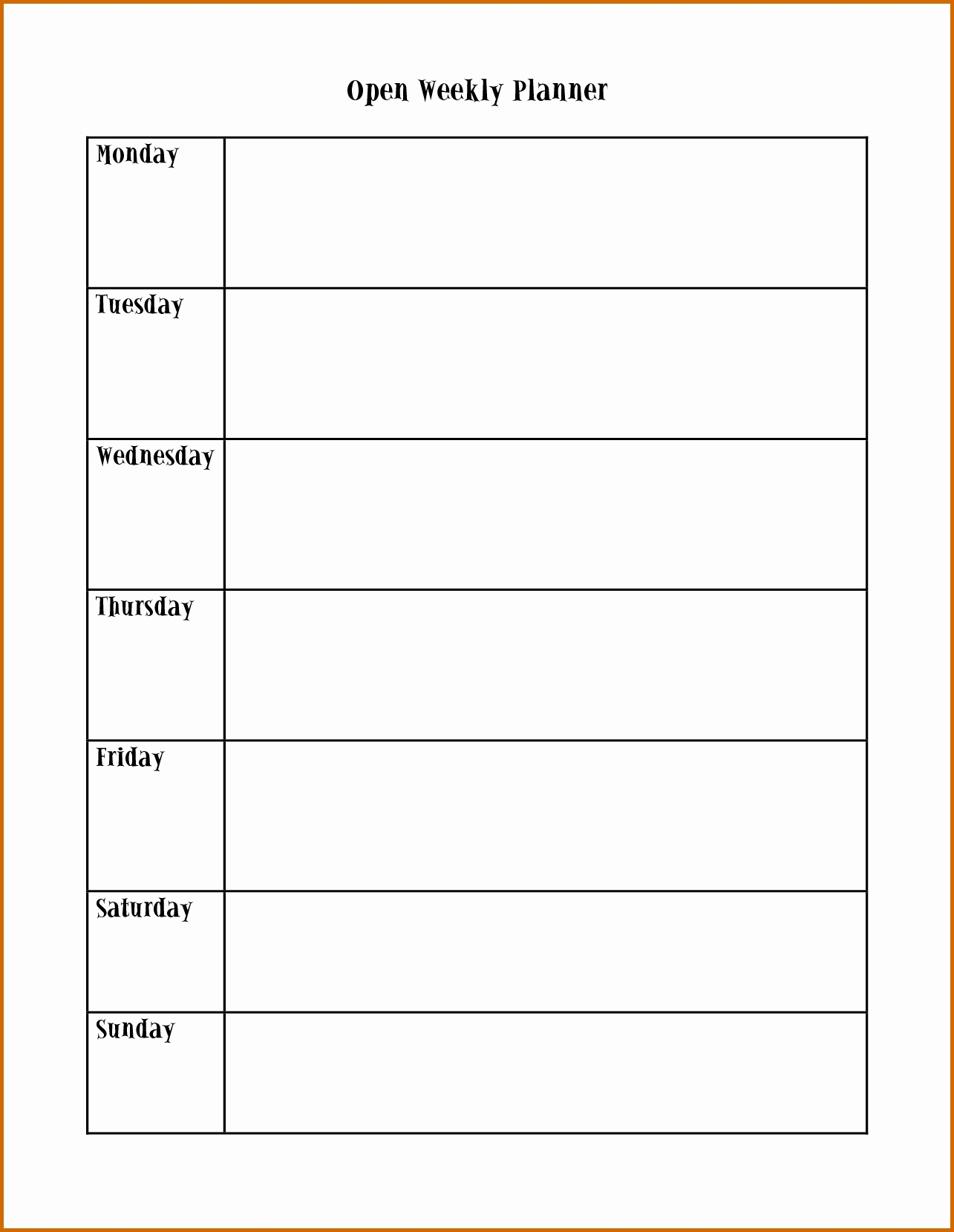 Schedule Template Monday Through Iday Weekly Calendar Ee Printable in Monday To Friday Planner Template