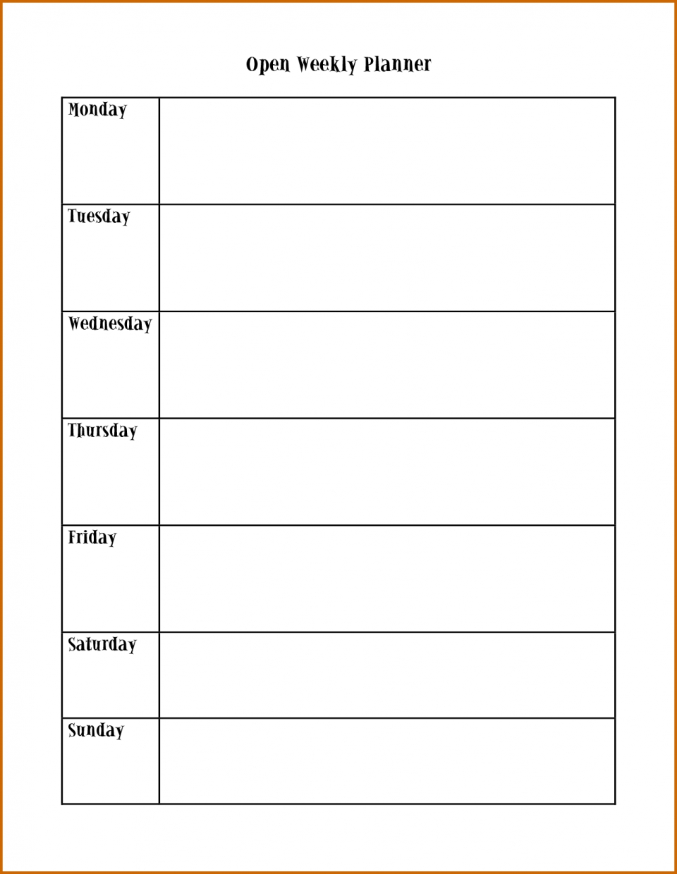 Schedule Template Monday To Sunday Weekly Friday With Times Thru regarding Monday - Sunday Weekly Schedule
