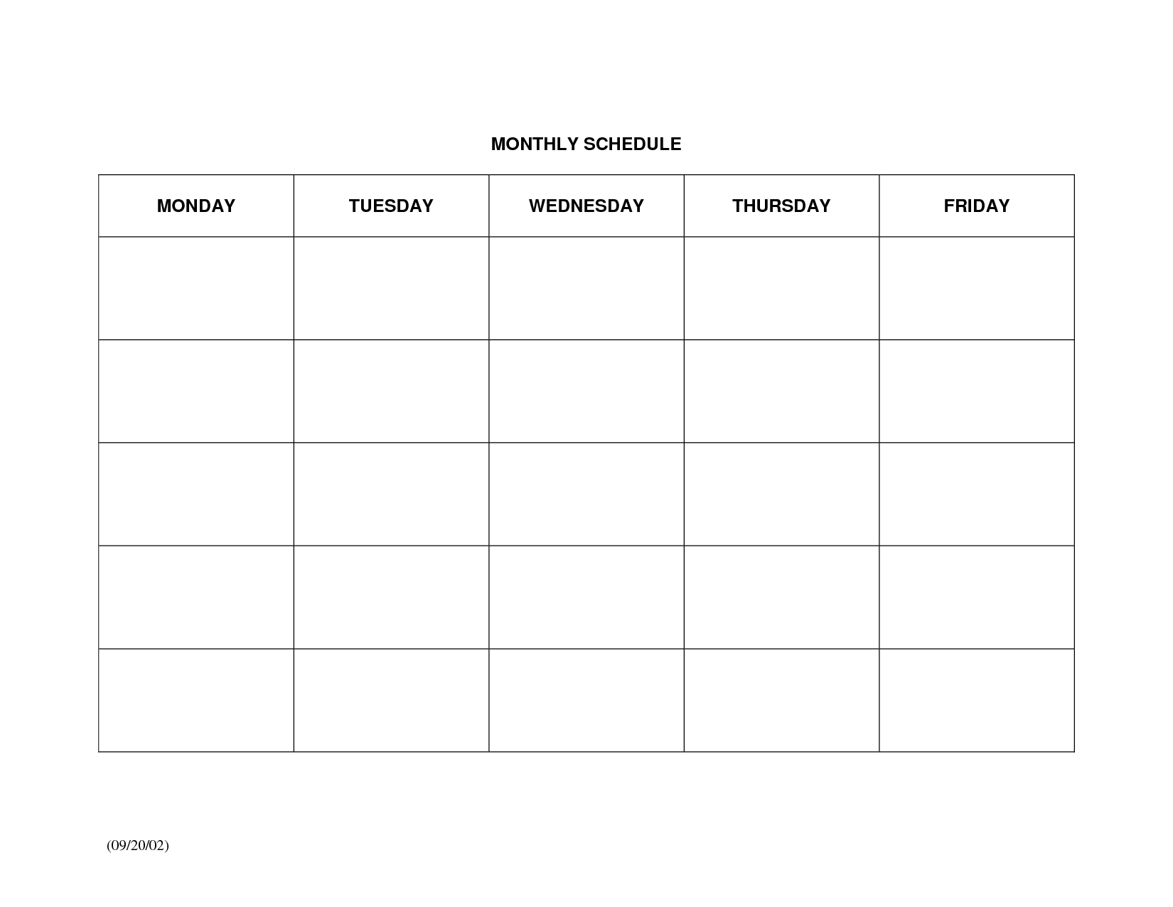 Schedule Template Monthly Calendar Printable Large Blank Weekly Free intended for Large Blank Monthly Calendar Template