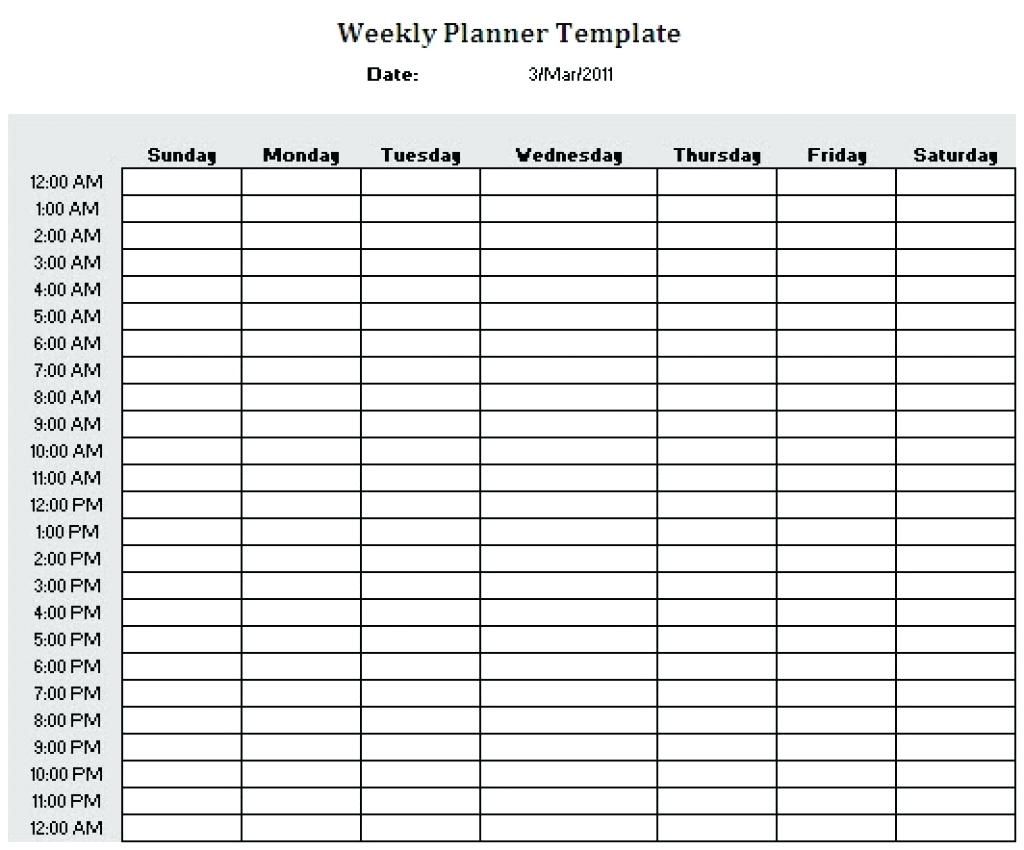 Schedule Template Printable Weekly Plannerhour Download Them Or within Hour By Hour Blank Calendars