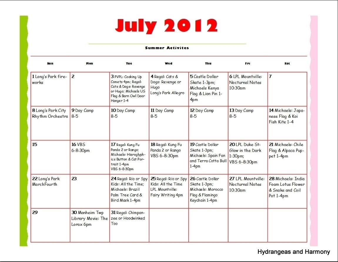 Schedule Template Summer Camp Daily Calendar   Smorad in Summer Camp Schedule Template Blank