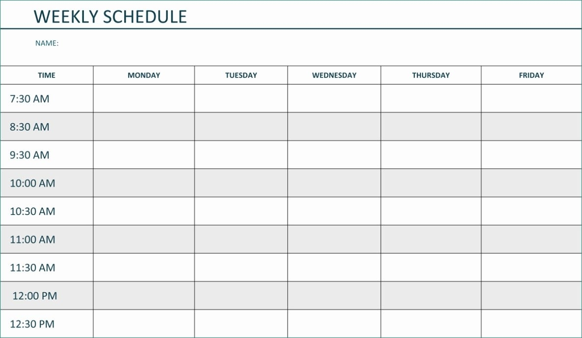 Schedule Template Weekly Pdf Minimalist Monday Friday With Times throughout Printable Weekly Schedule With Hours Monday To Friday