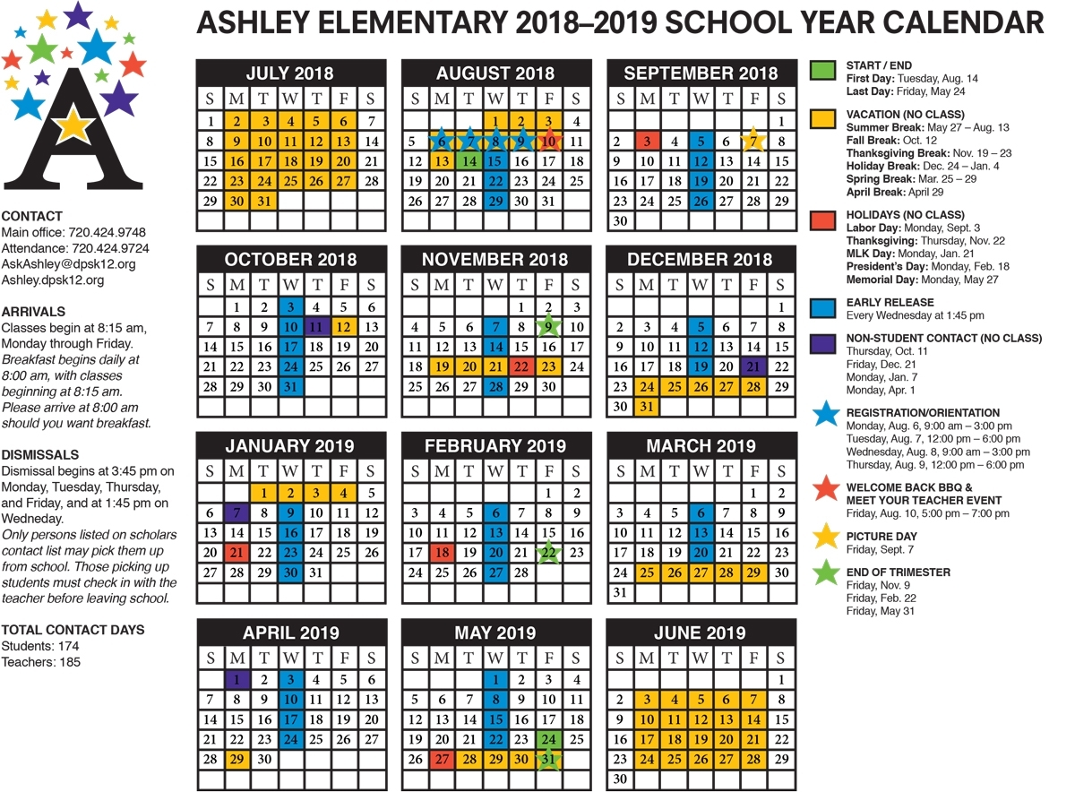 School Calendar | Ashley Elementary regarding Monday Through Friday Calendar With Times
