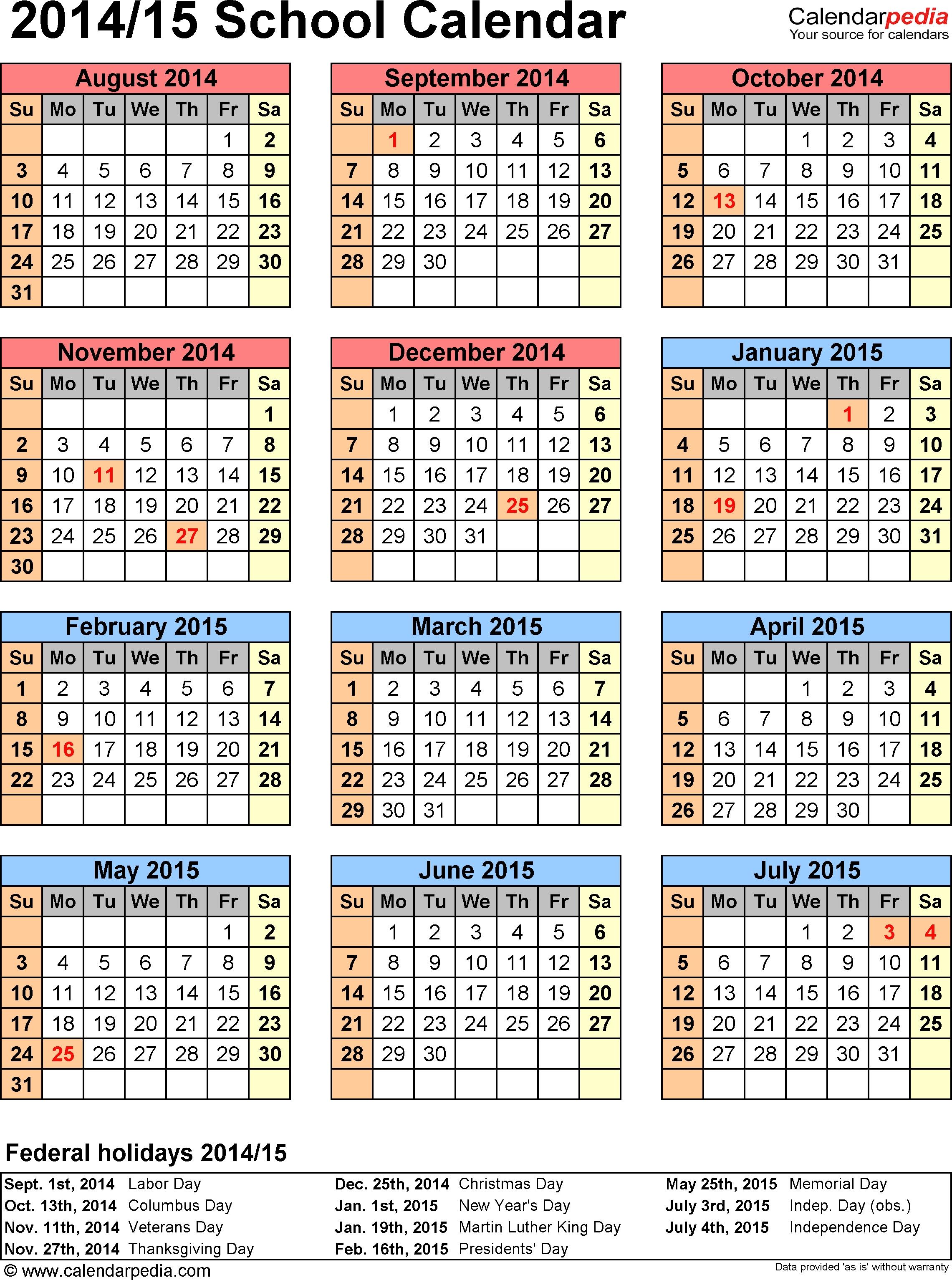 School Calendars 2014/2015 As Free Printable Word Templates pertaining to 5 School Day Calendar Blank