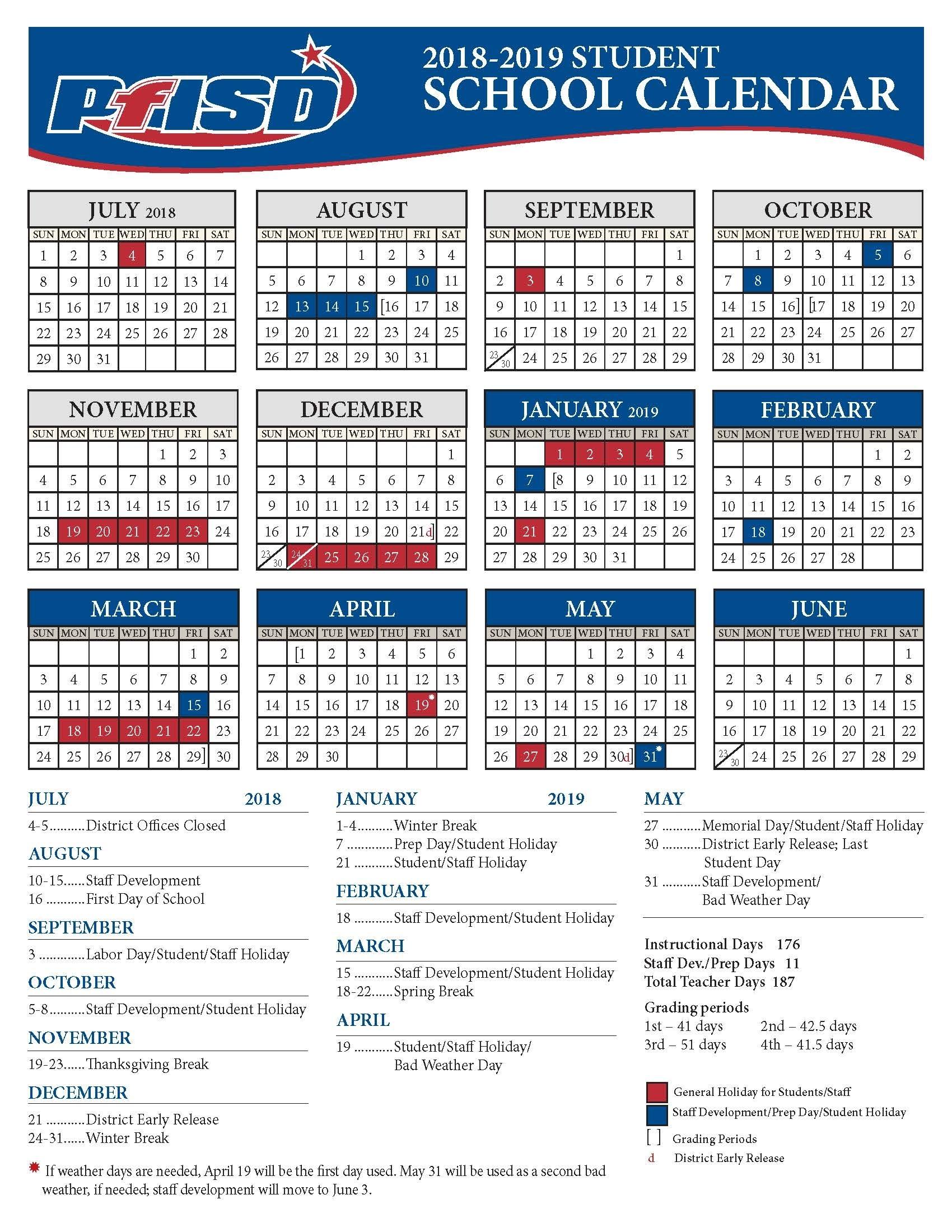 School Year Calendar / 2018-2019 District Calendar inside Blank 5 Day School Timetable