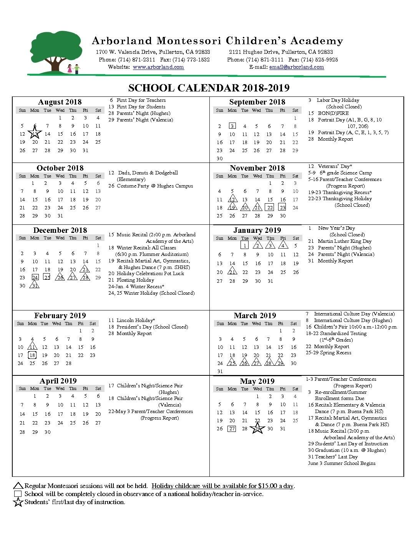 School Year Calendar - Montessori School, Kindergarten, Daycare intended for Birthday Calendar Montessori For Print