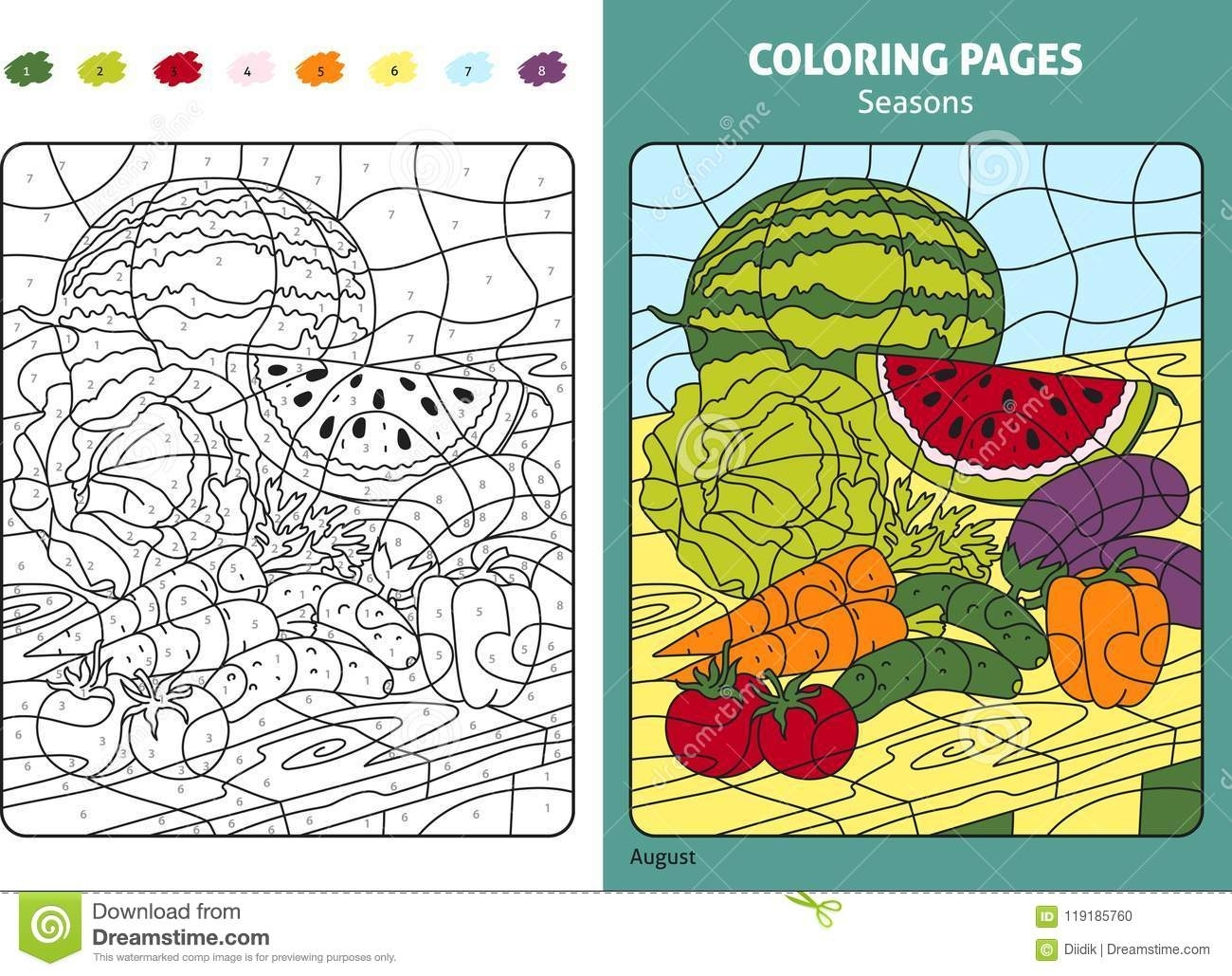 Seasons Coloring Page For Kids, August Month Stock Vector within August Printable Images To Color