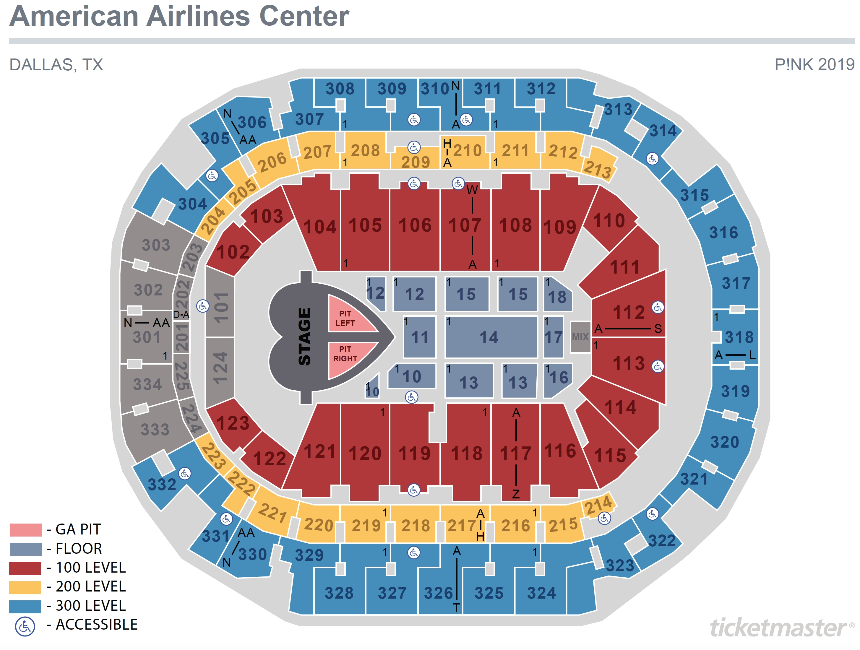 Seating Maps | American Airlines Center intended for Verizon Center Seating Chart Pdf