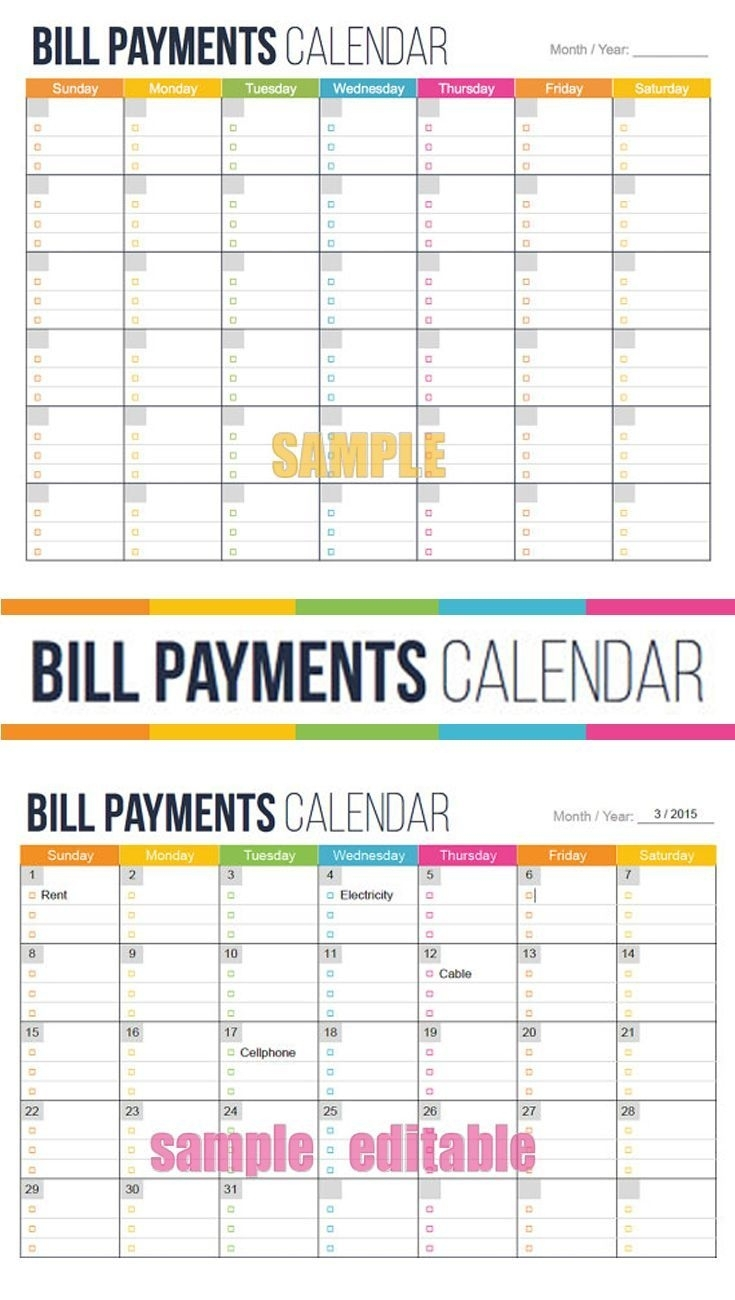 See Your Bills Due Dates At A Glance. Bill Payment Calendar pertaining to Bill Due Date Calendar Printable