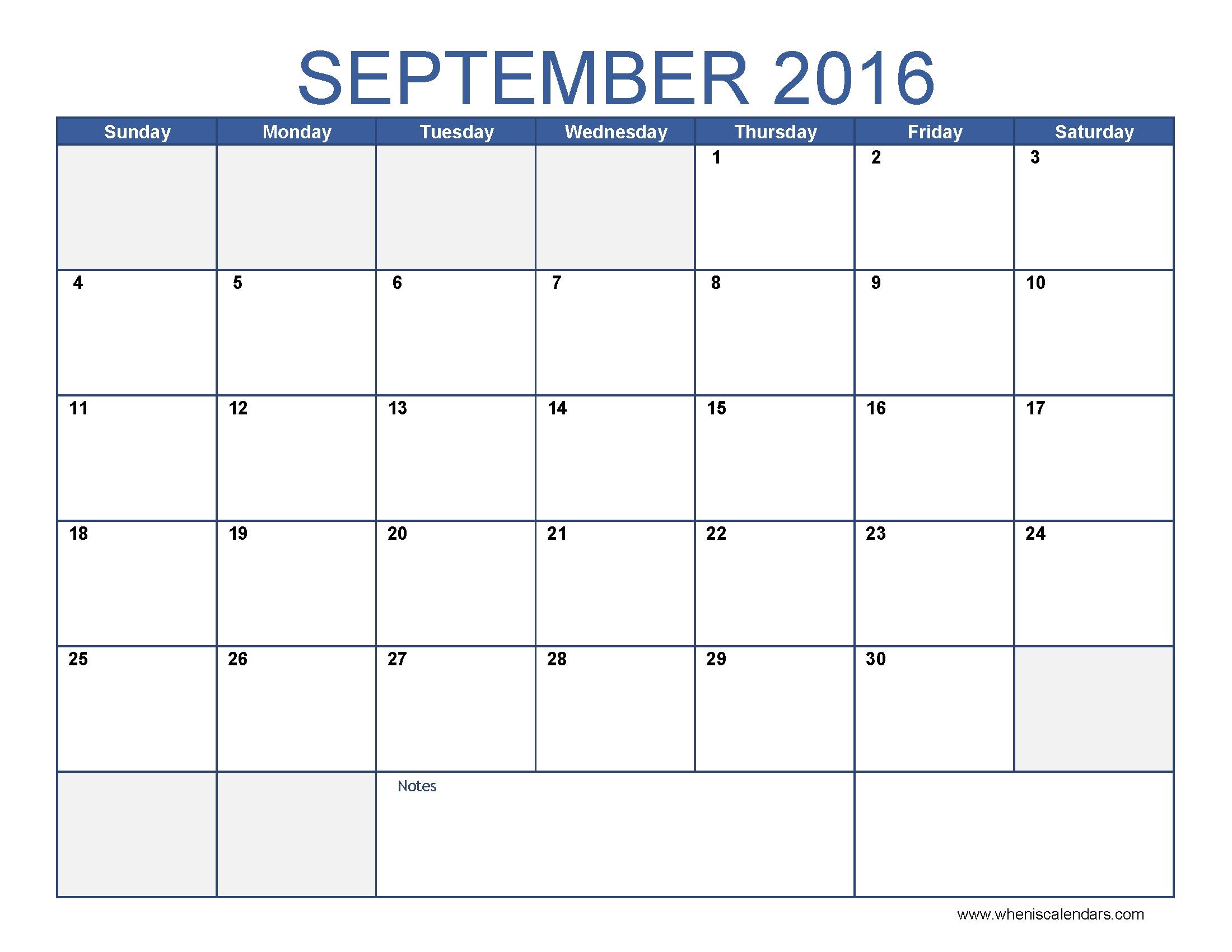 September 2016 Calendar Excel #september2016 #excelcalendar throughout Calendar Of The Month Of September