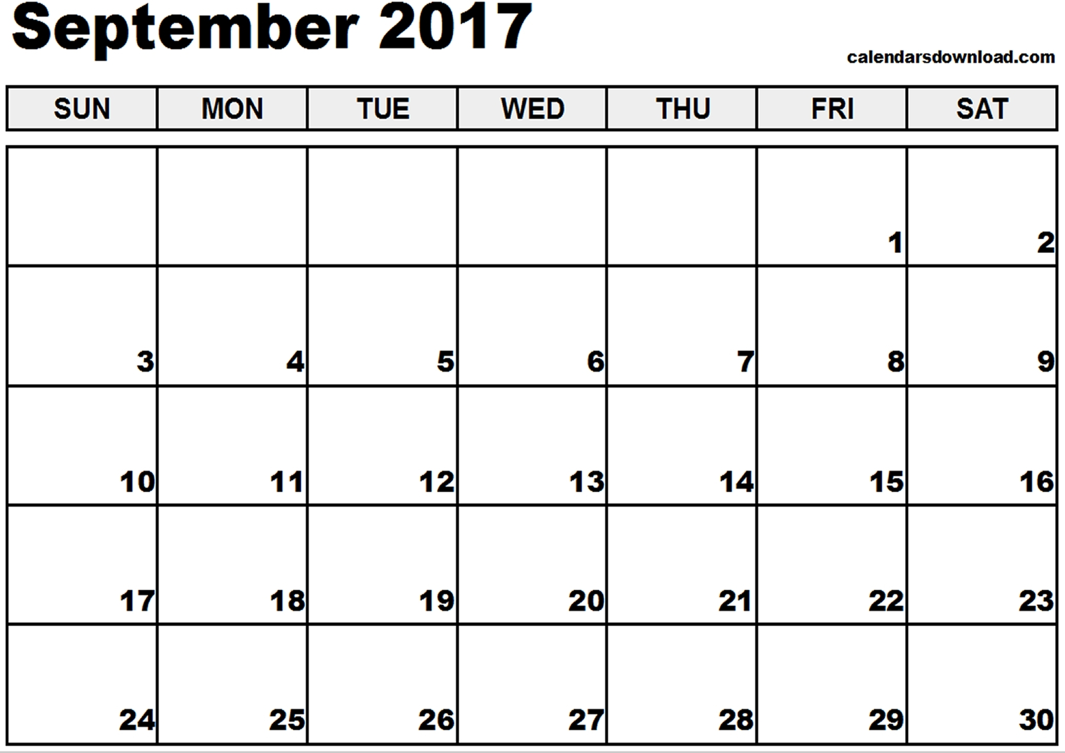 September 2017 Printable Calendar Pdf - Printable Calendar regarding Calendar For The Month Of September