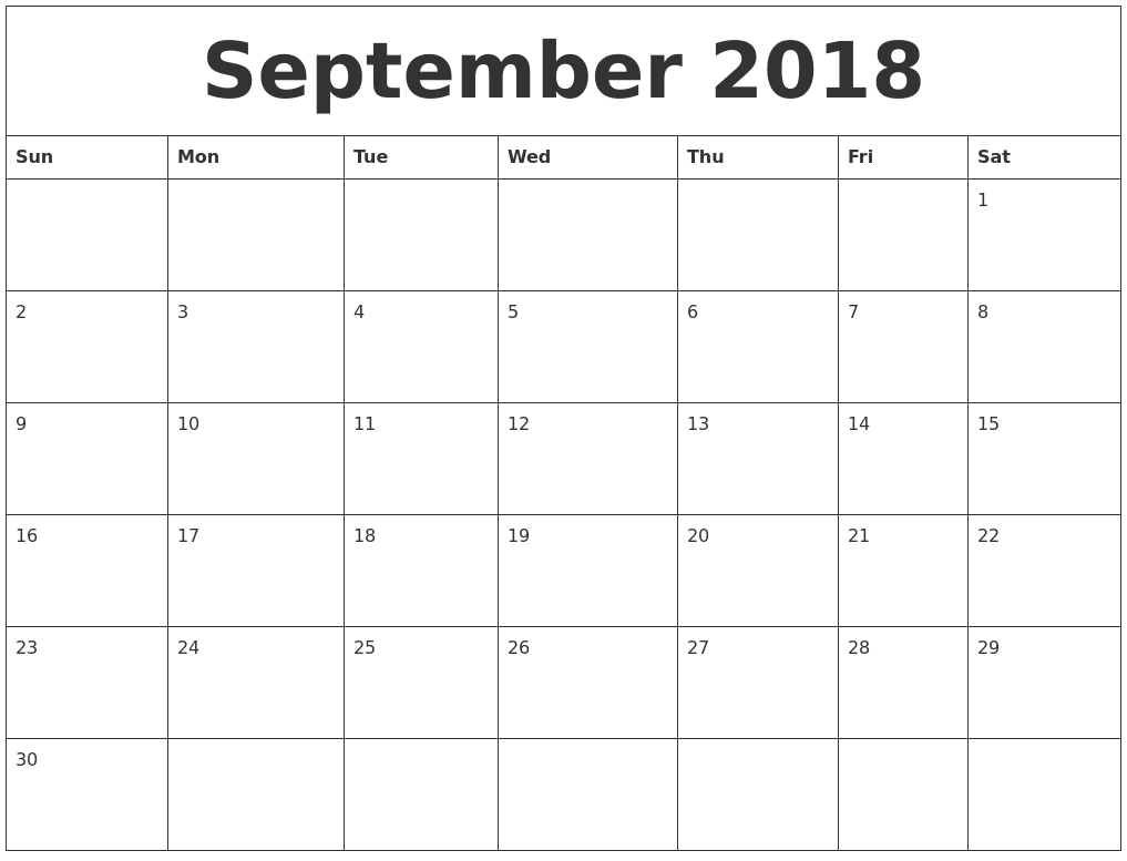 September 2018 Blank Monthly Calendar Template with Calendar For Month Of September